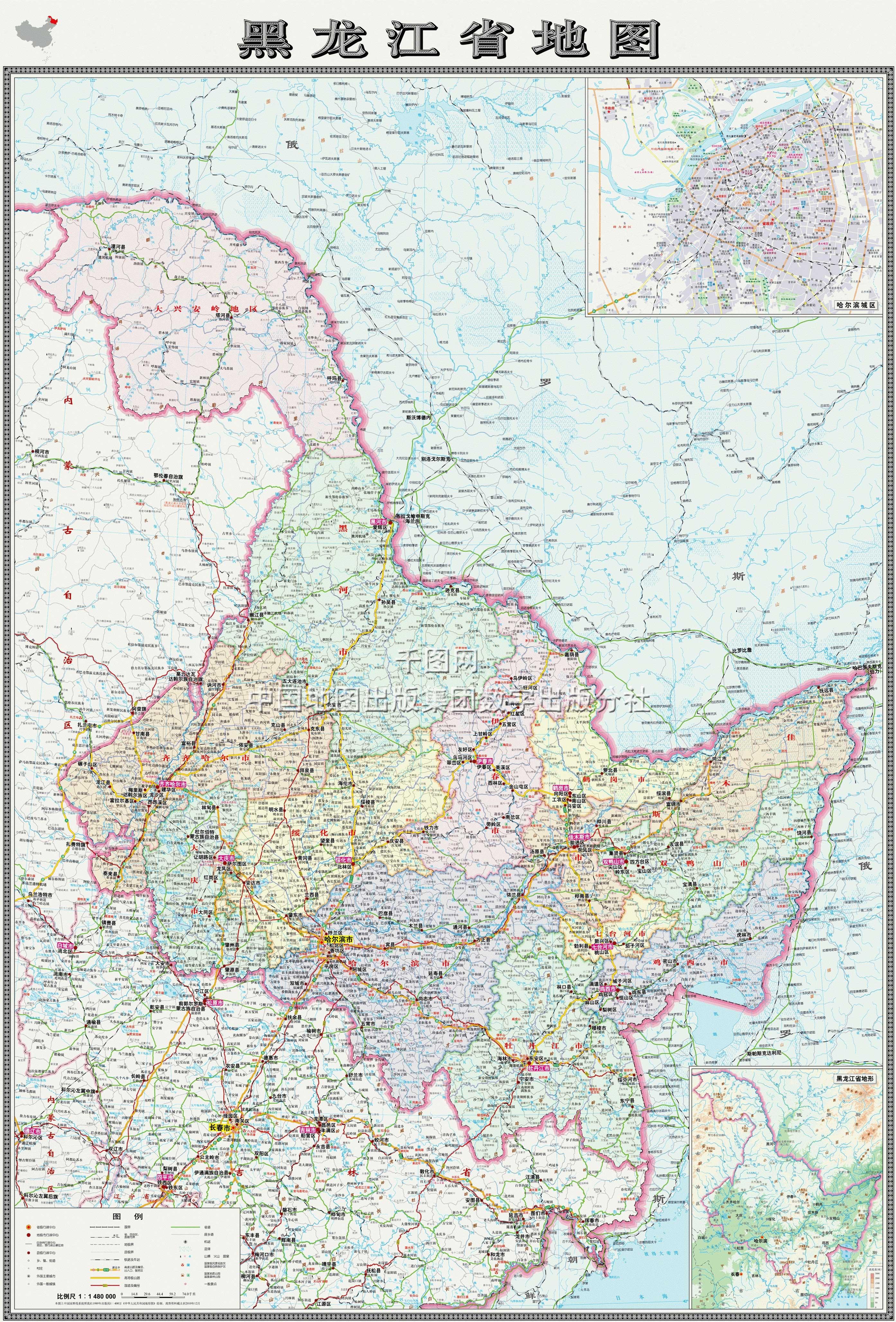 黑龙江省地图高清版_黑龙江地图库