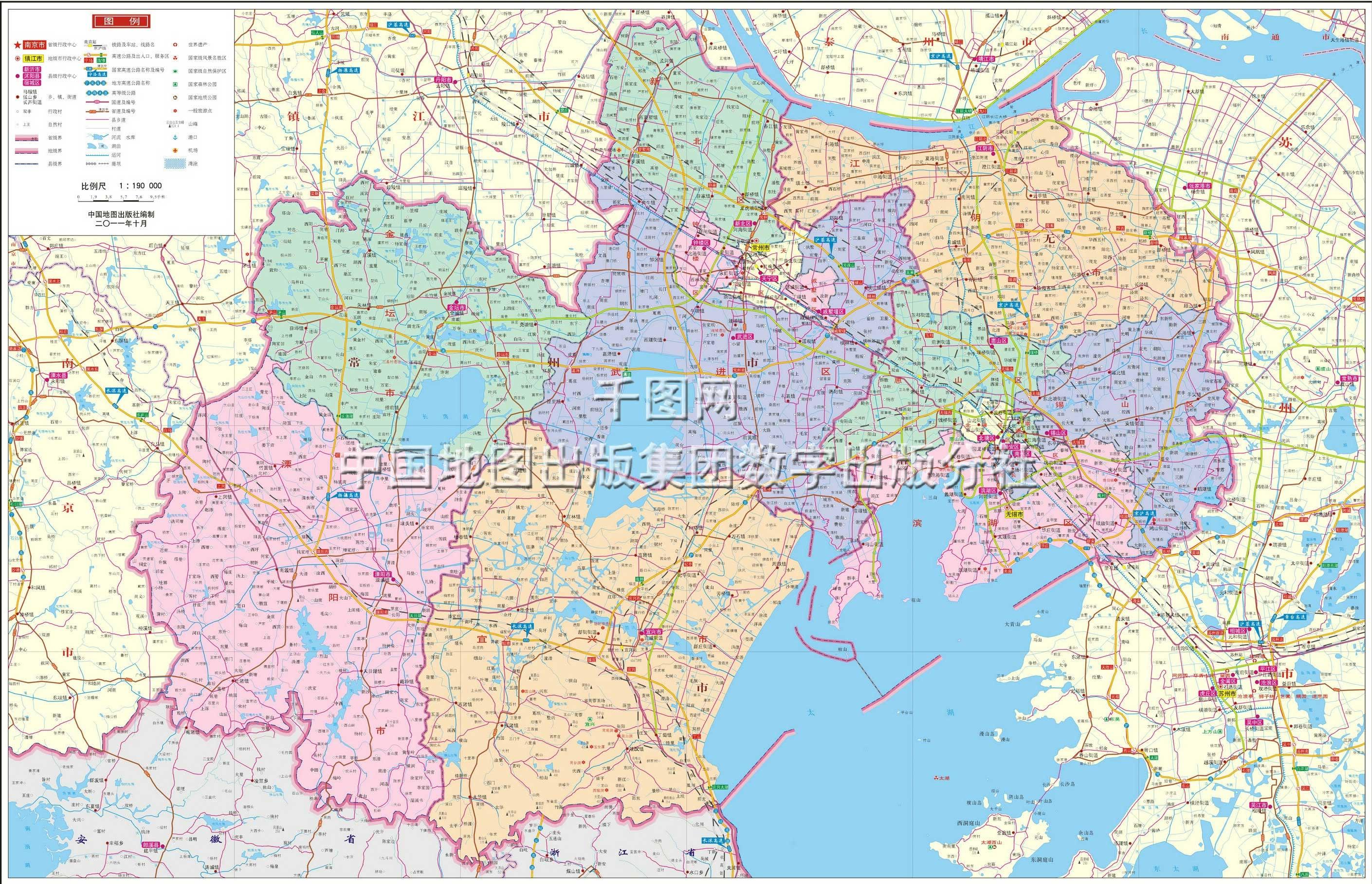 地图窝 中国地图 江苏 无锡 >> 无锡市地图地图高清版