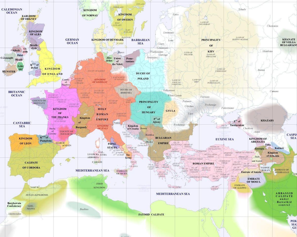 历史地图 欧洲历史 >> 1000年欧洲  栏目导航:中国史稿地图  简明中国