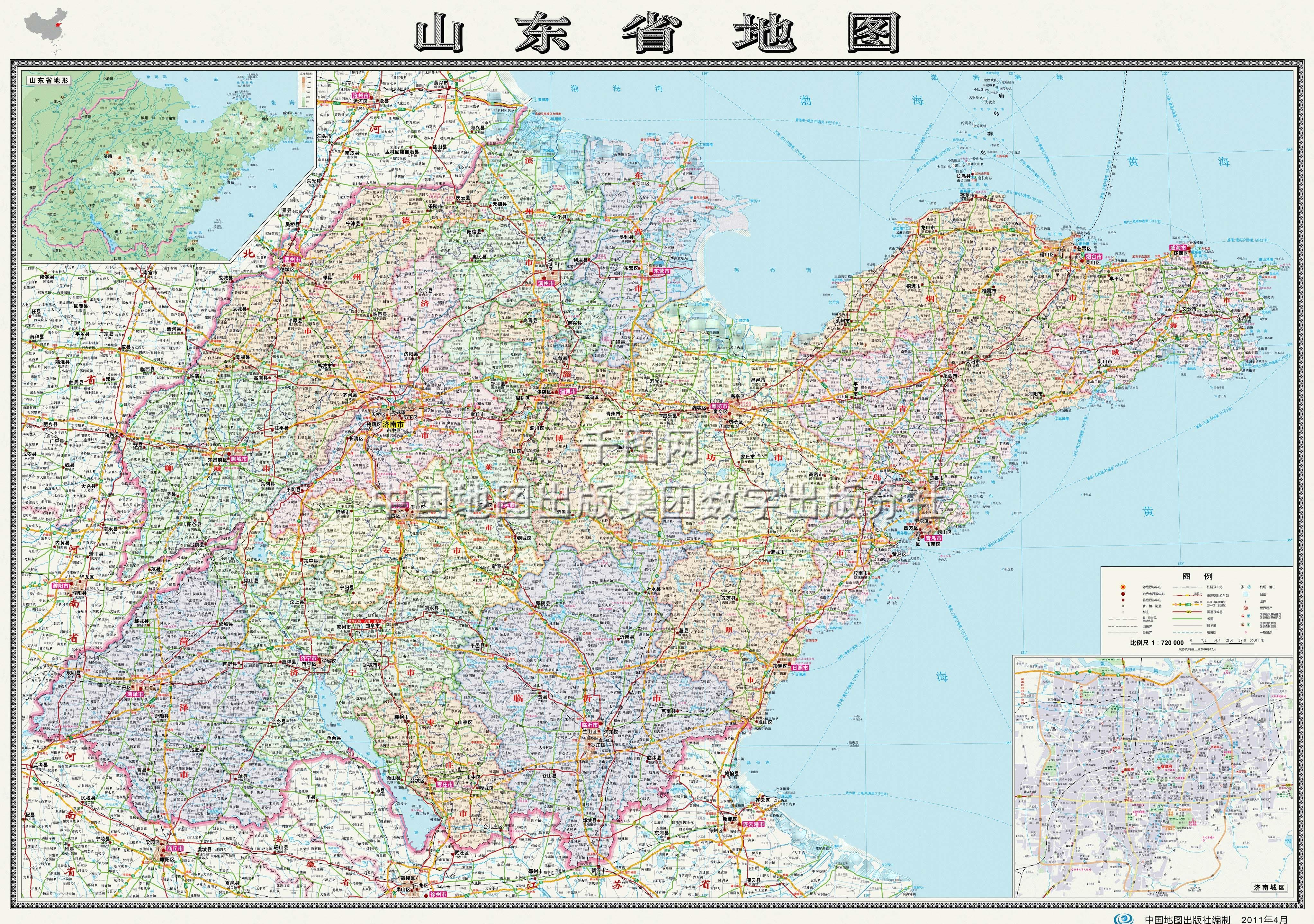 山东省地图高清版_山东地图库