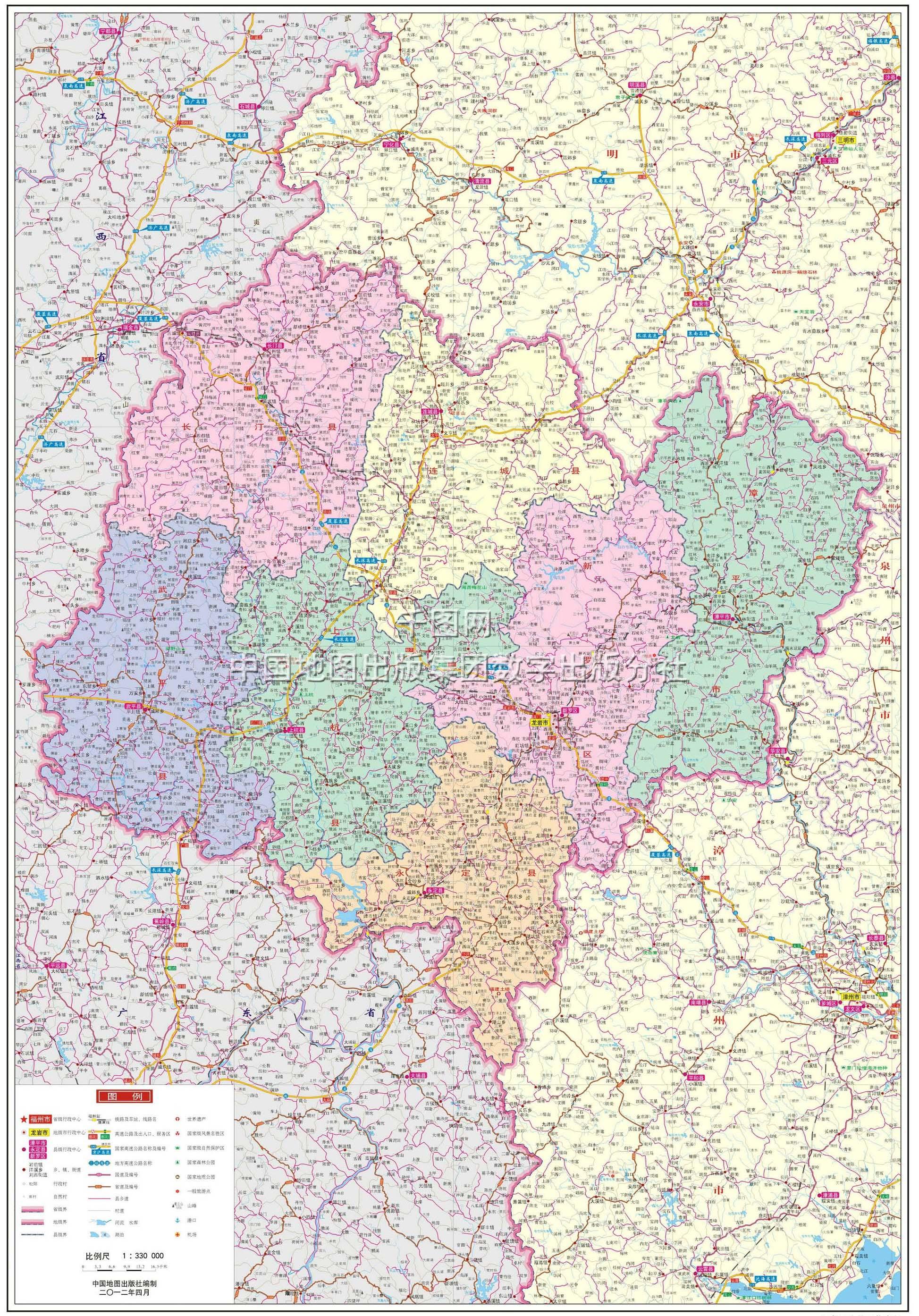 龙岩市永定县地图