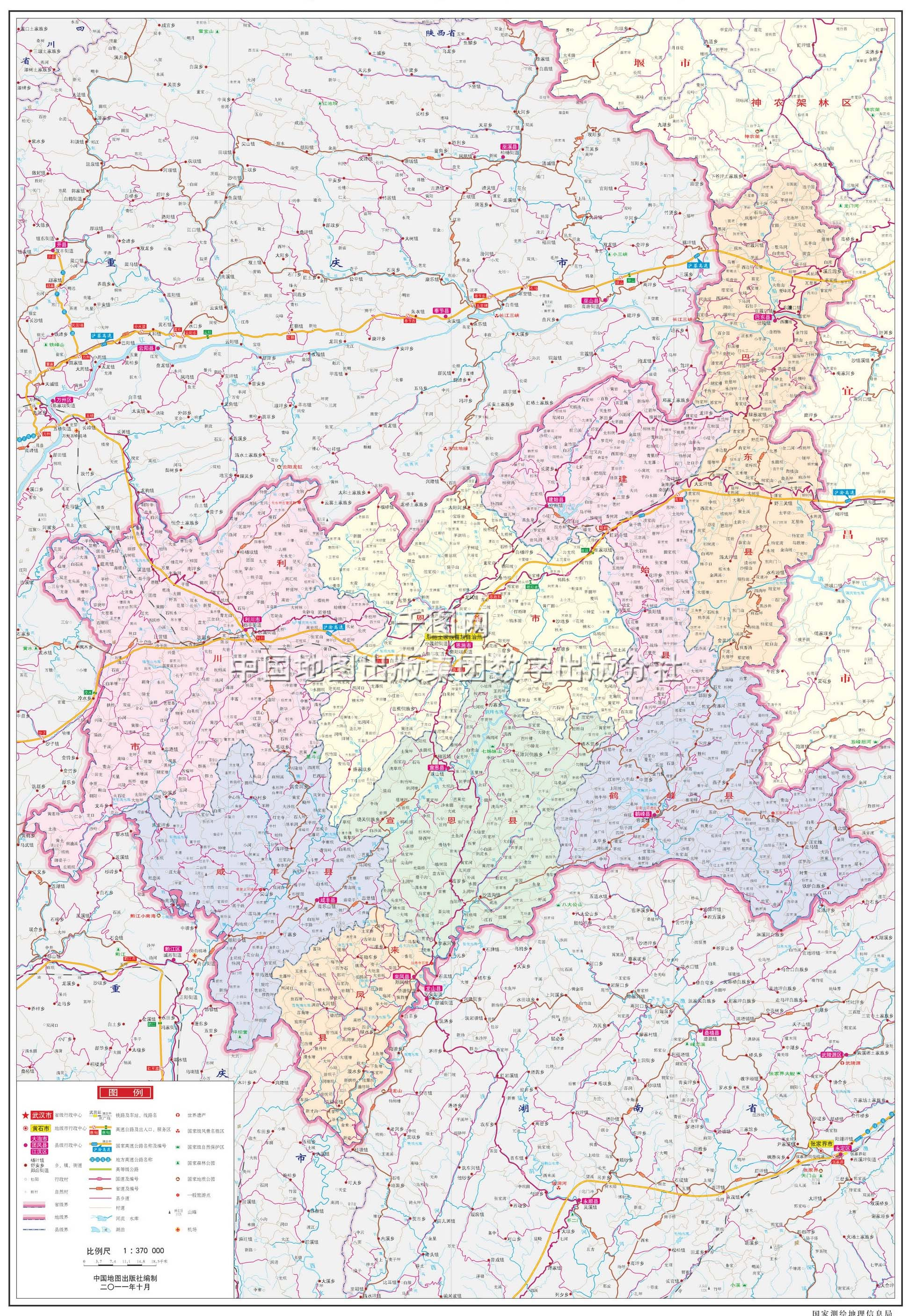 恩施土家族苗族自治州地图高清版图片