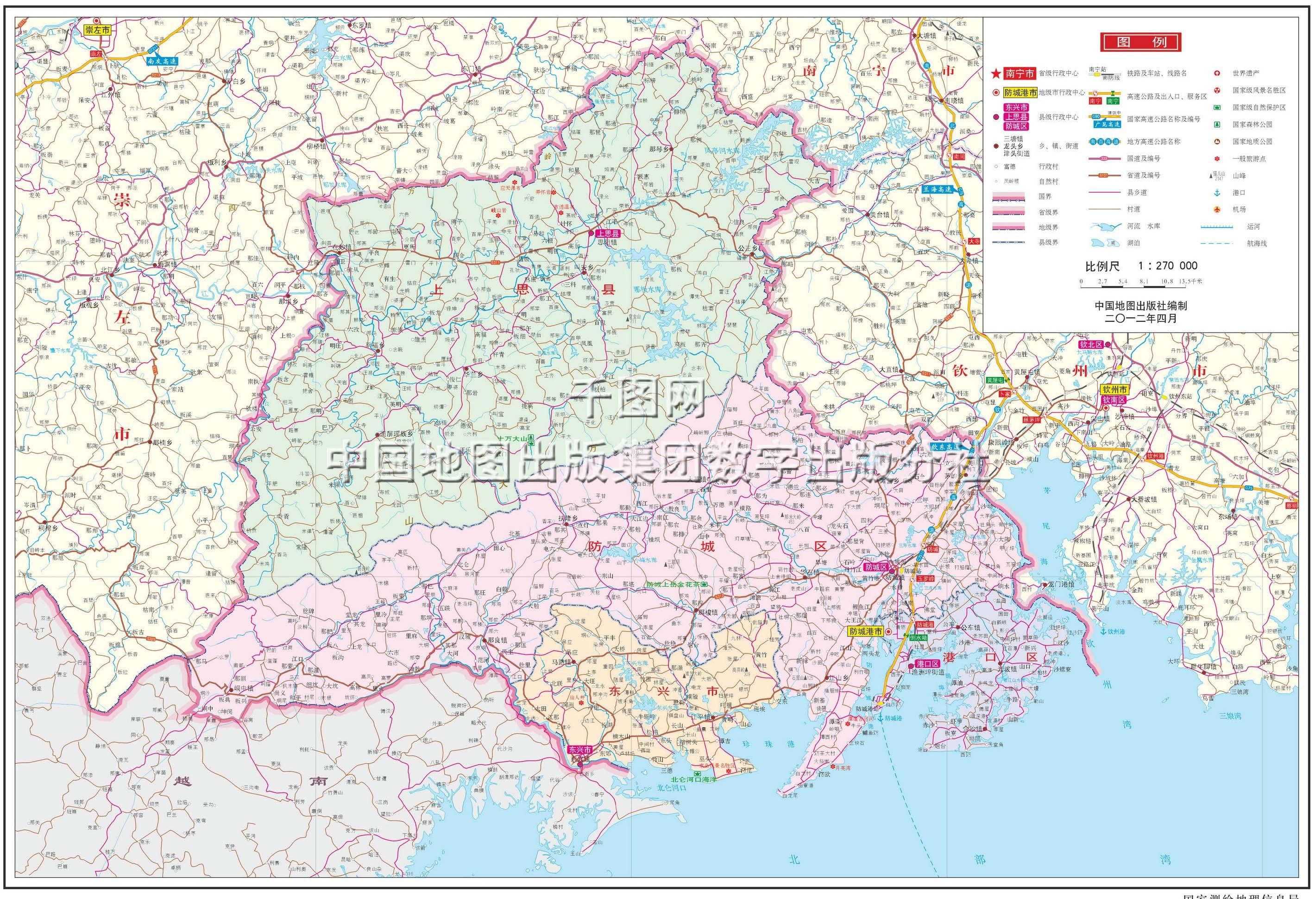 防城港市地图高清版_防城港市地图查询图片