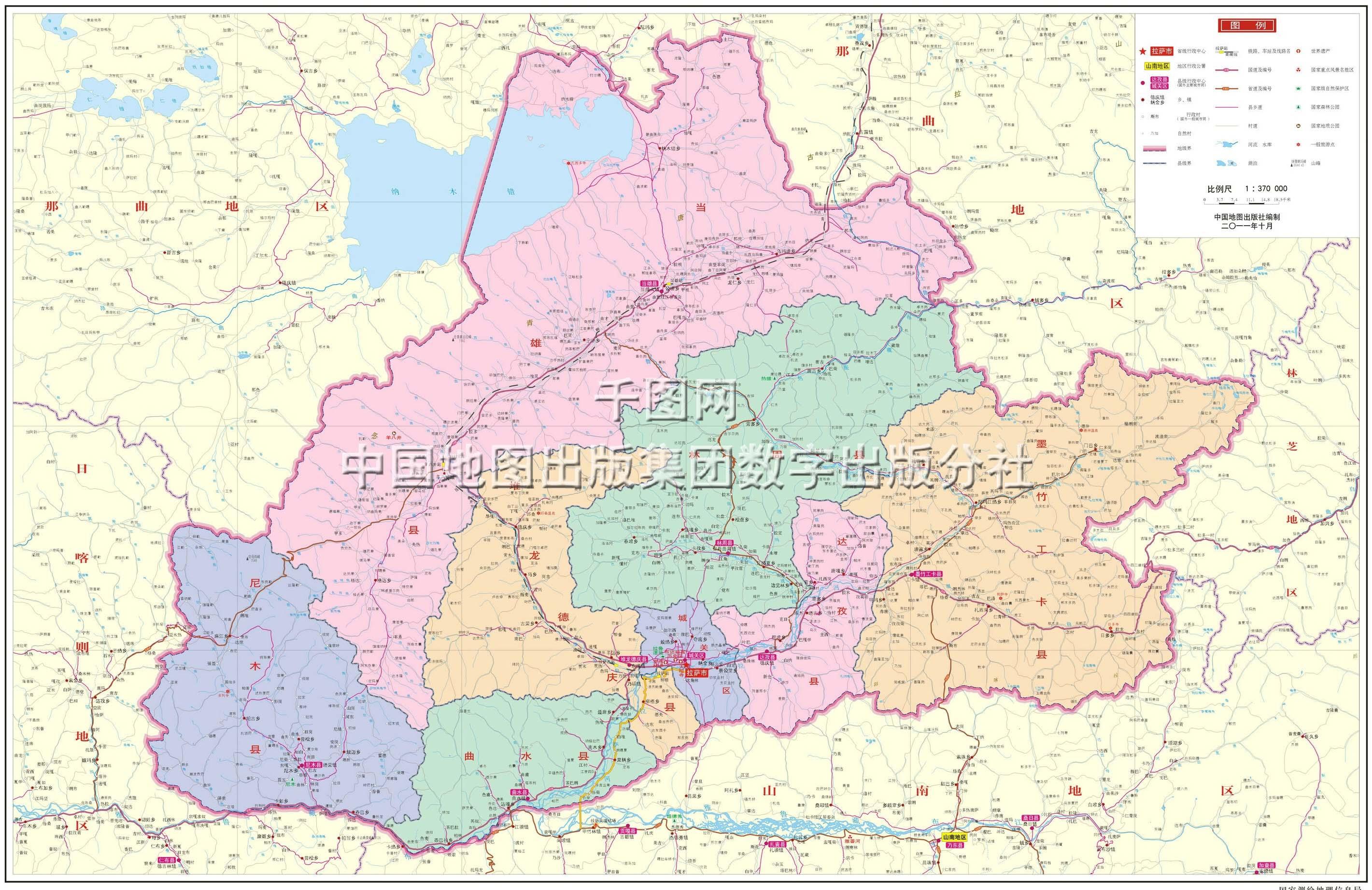 拉萨市地图高清版