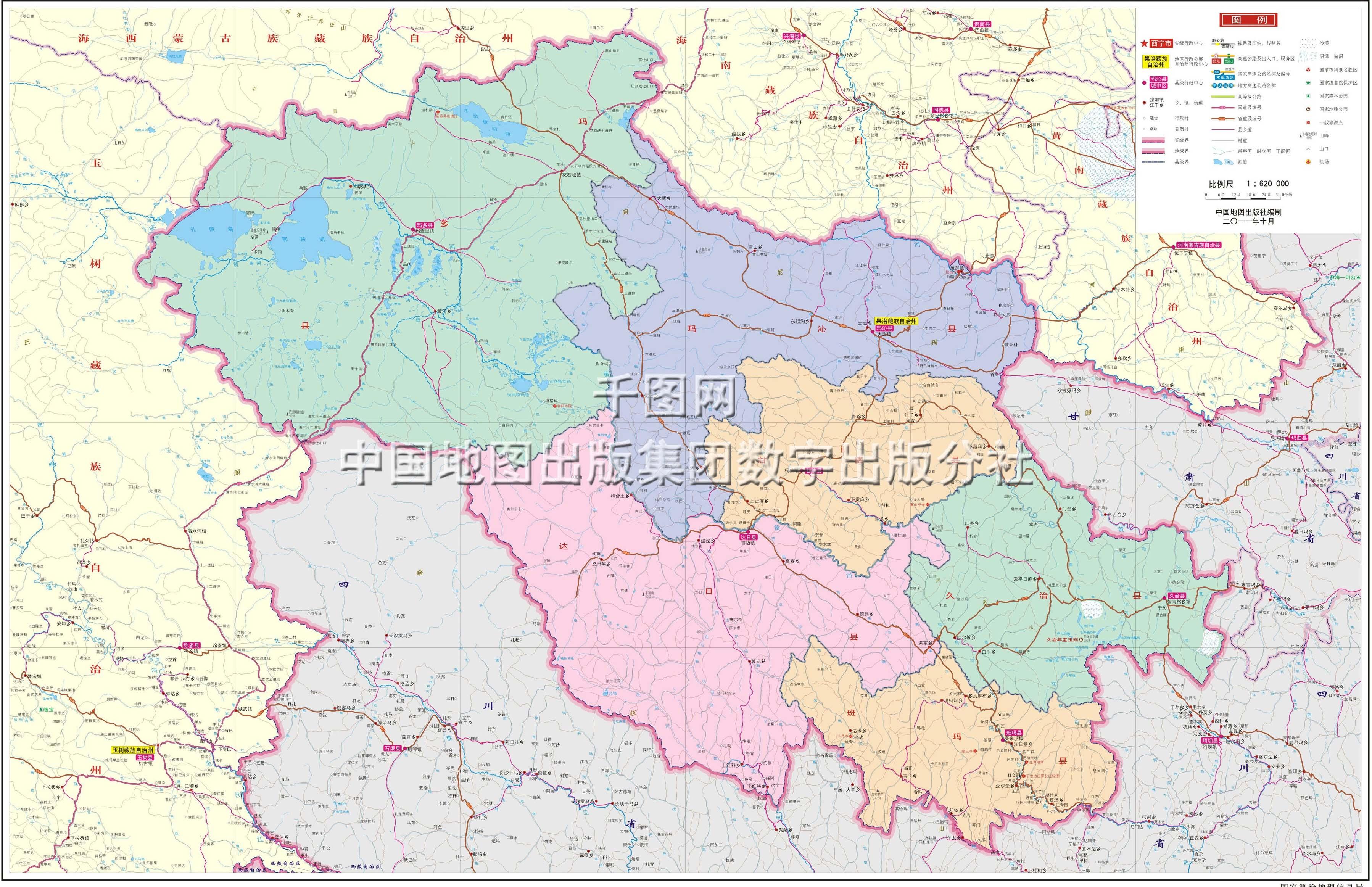 果洛藏族自治州地图高清版