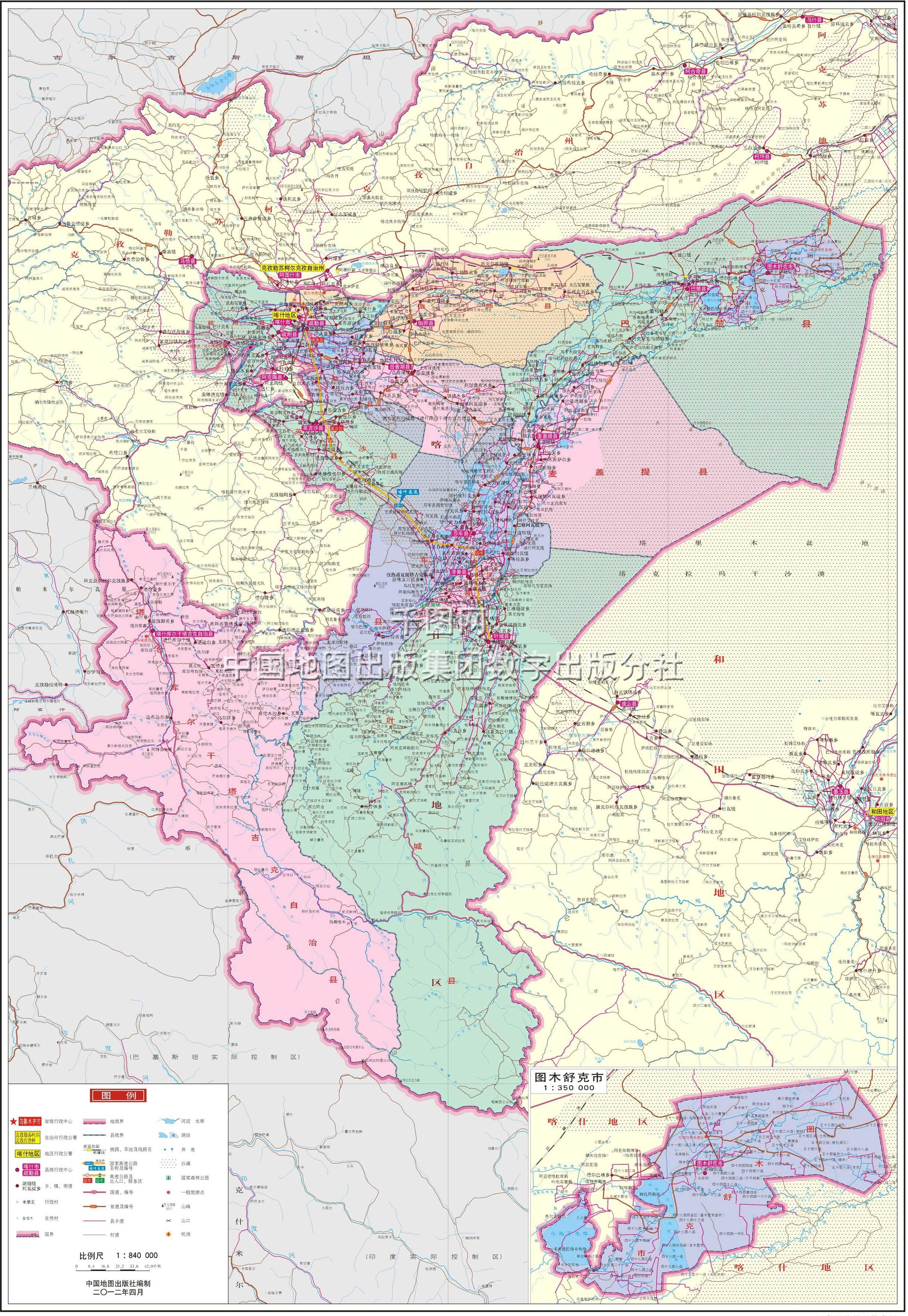 喀什地区地图高清版