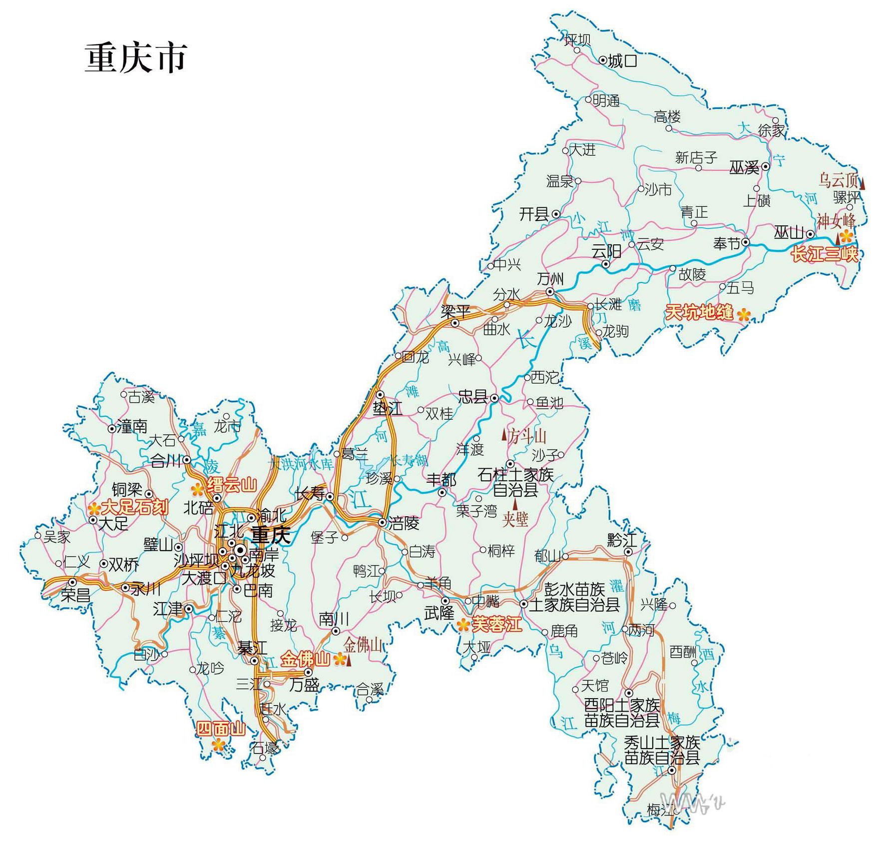 重庆重点旅游景区分布图