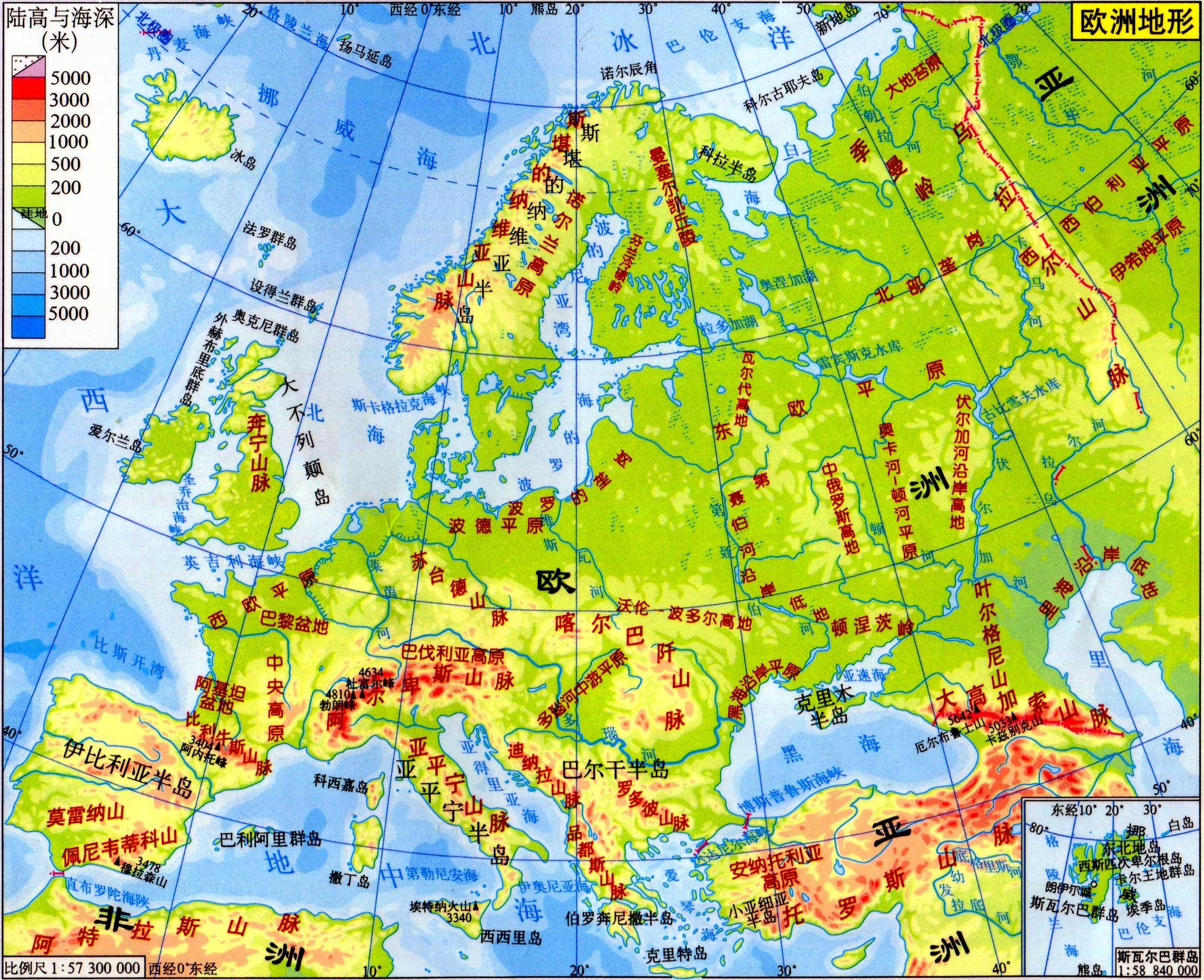 欧洲地形图_欧洲地图库