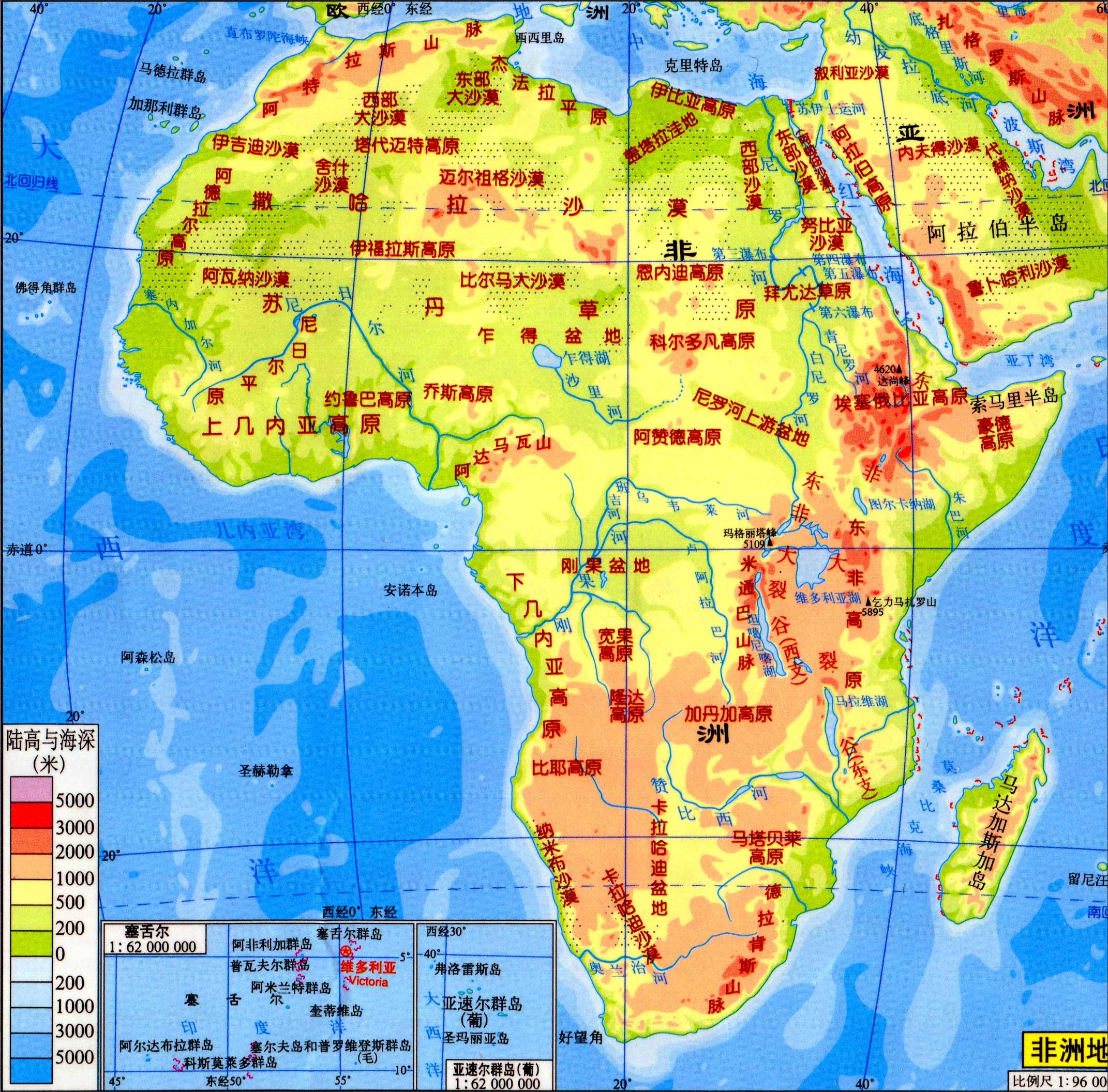非洲地形图