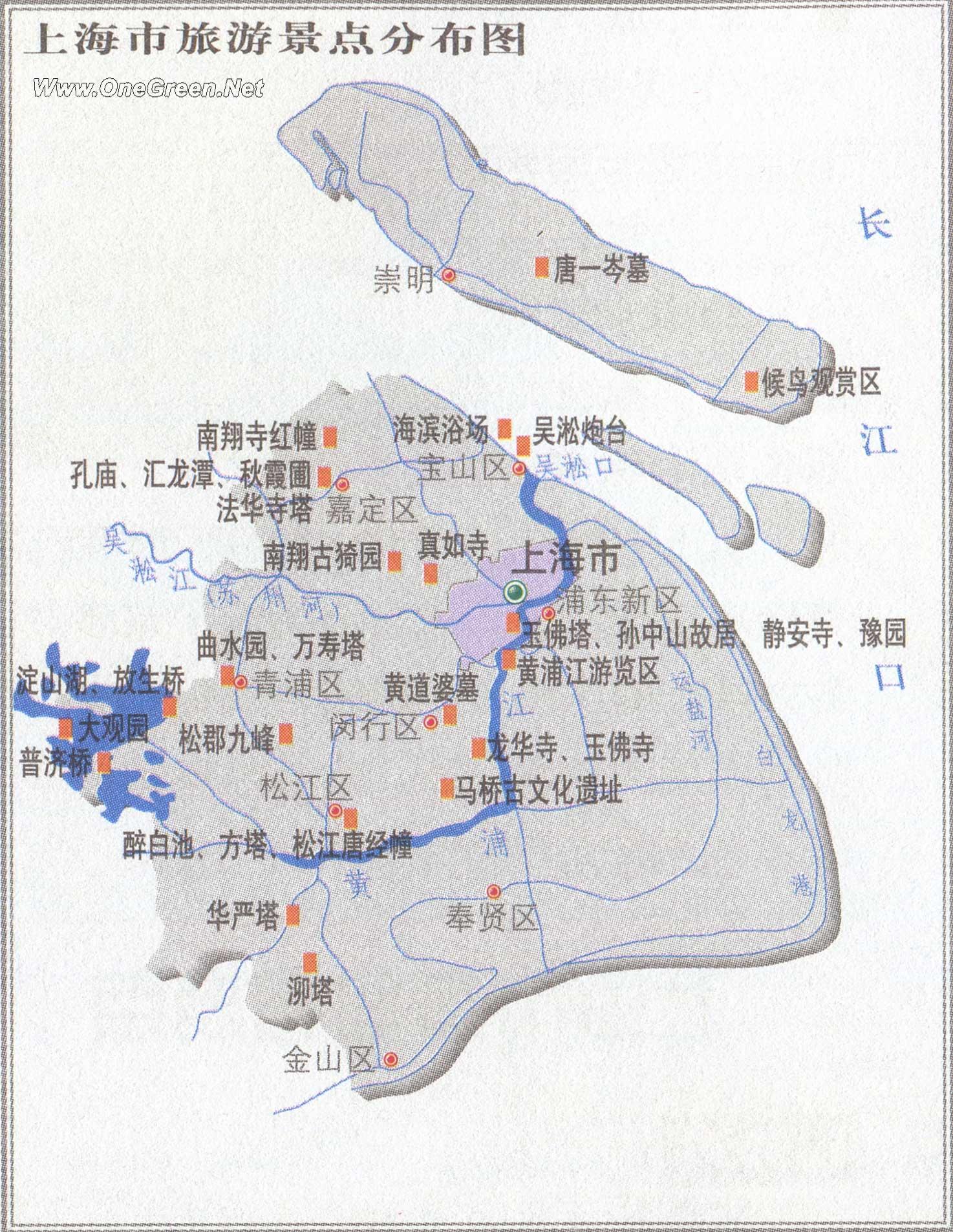 上海旅游景点分布图_上海地图库