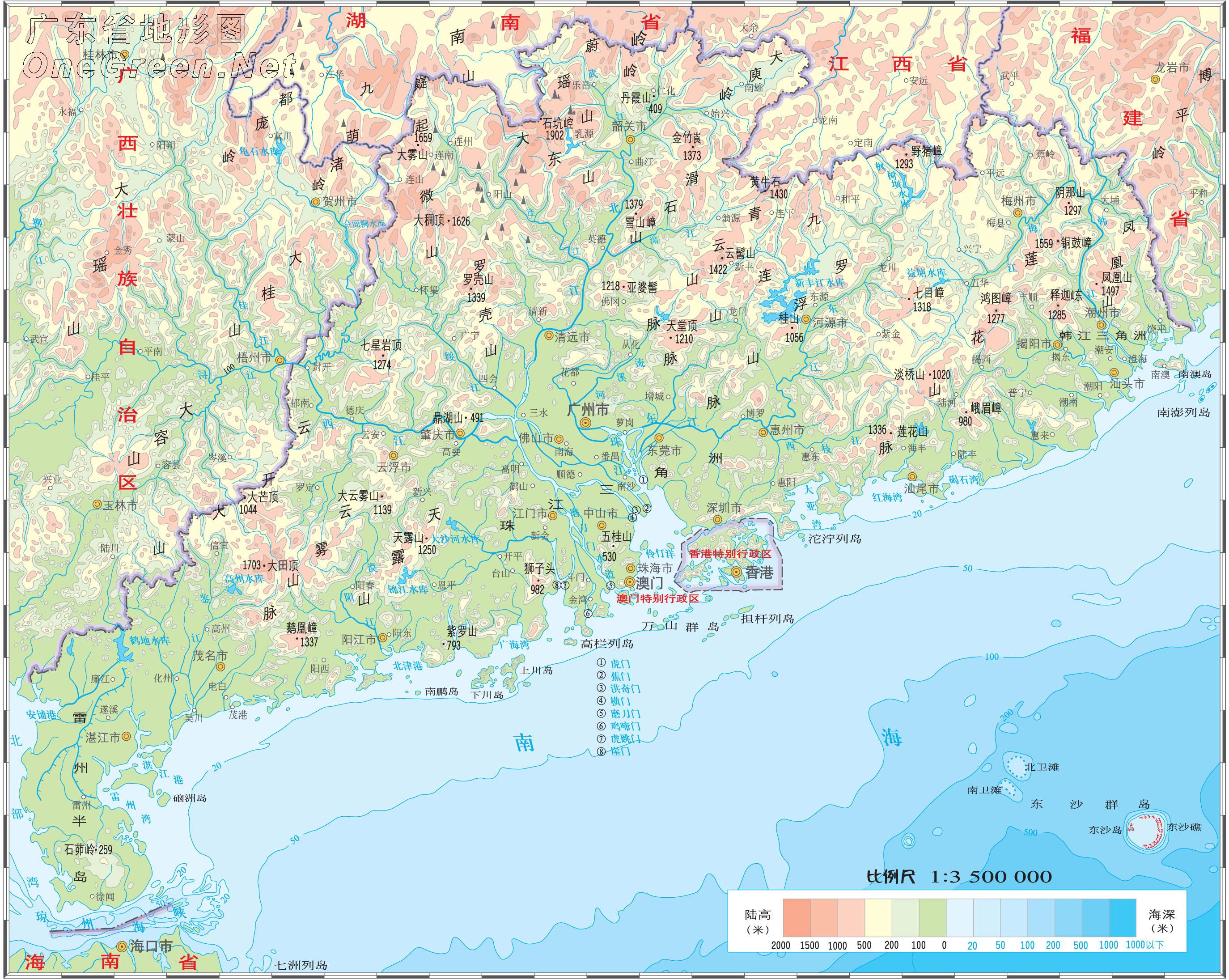 广东省地图地形图