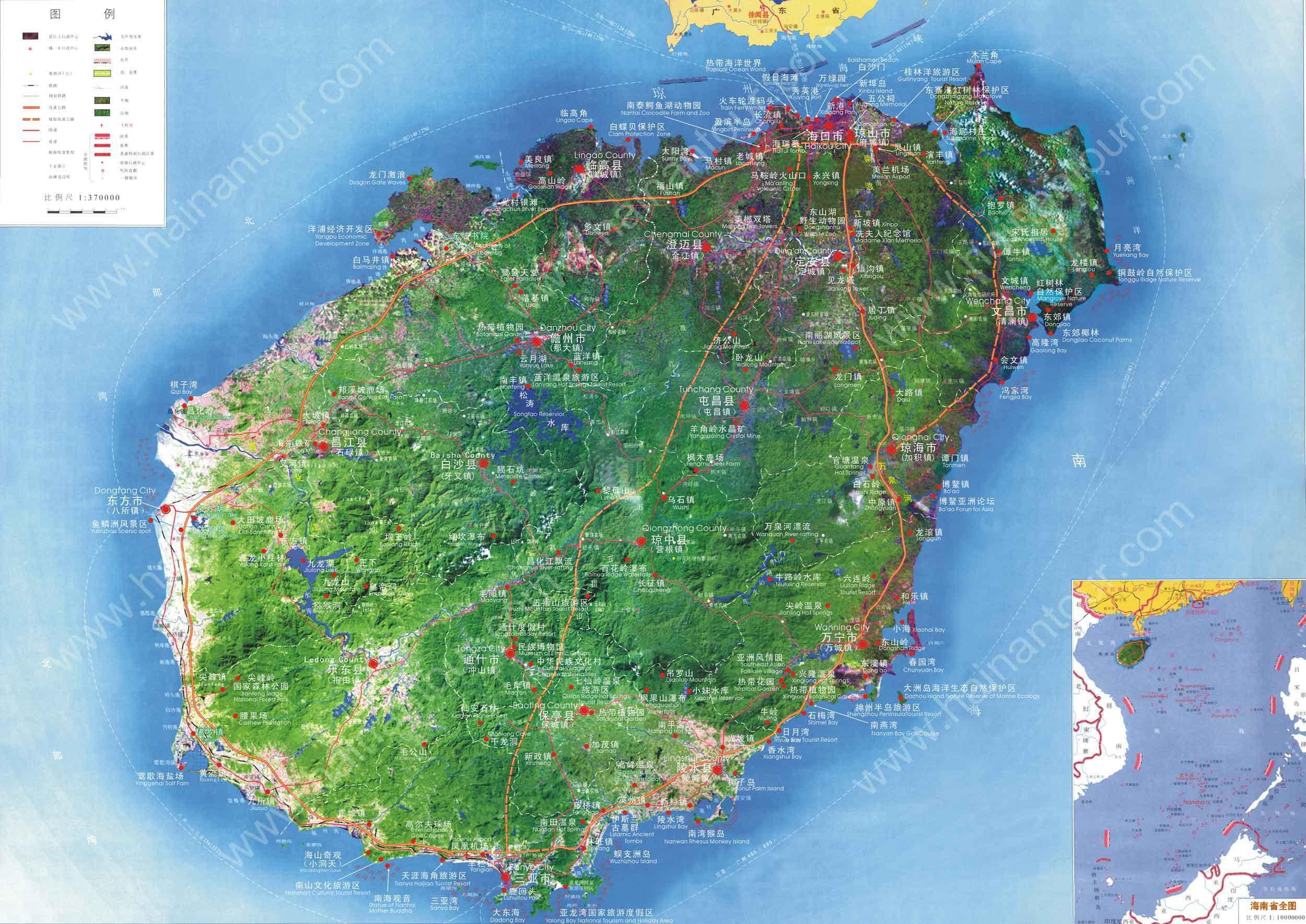 海南旅游地图全图