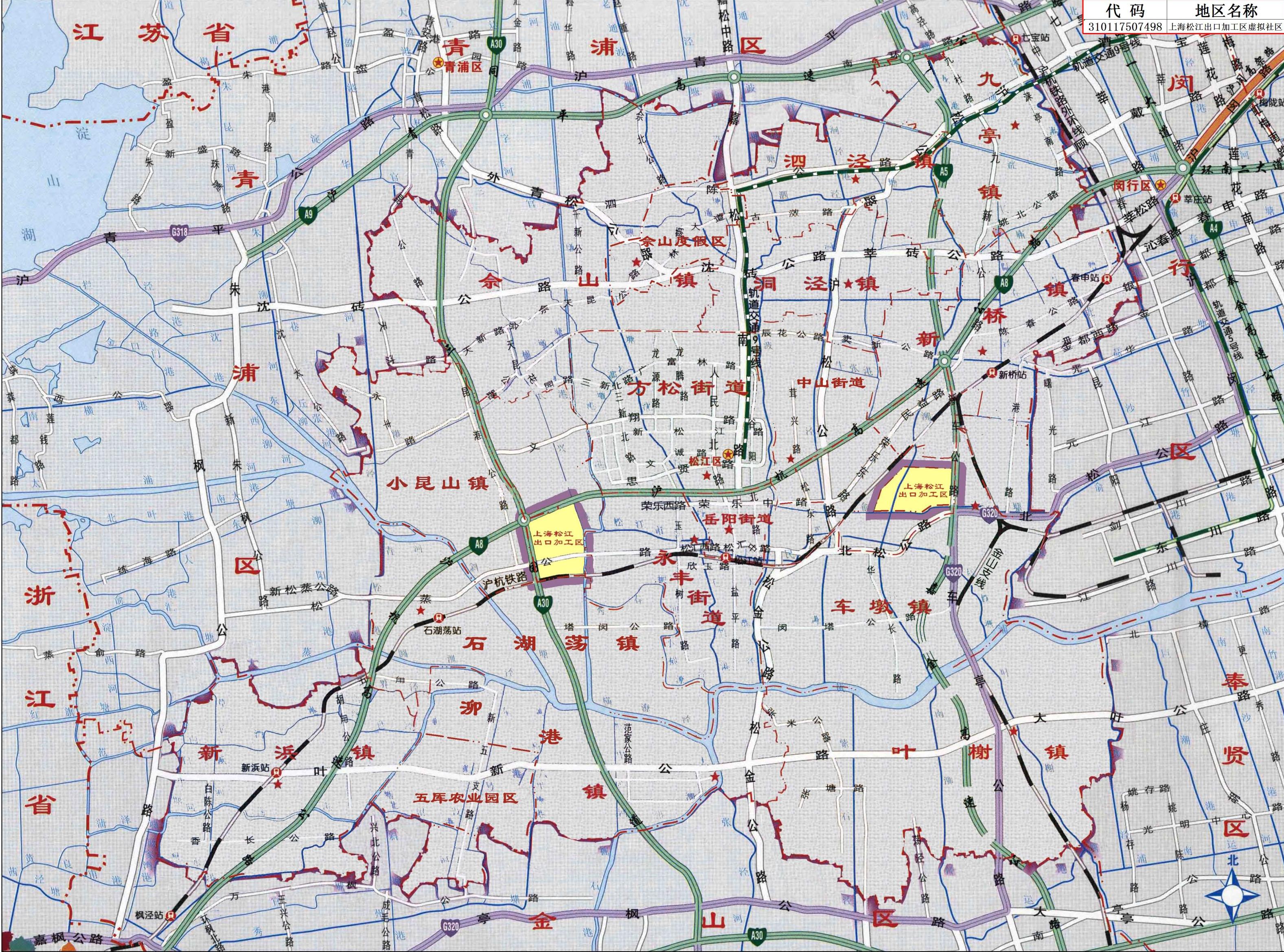 上海松江出口加工区地图