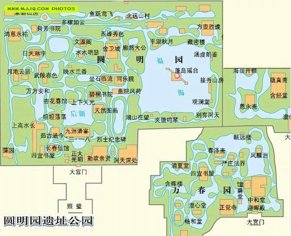 浙江旅游景点_圆明园导游图_北京旅游地图库_地图窝