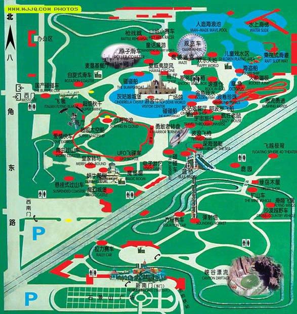 """石景山游乐园位于北京西山风景区南麓,南部紧临""""神州第一路""""的"""