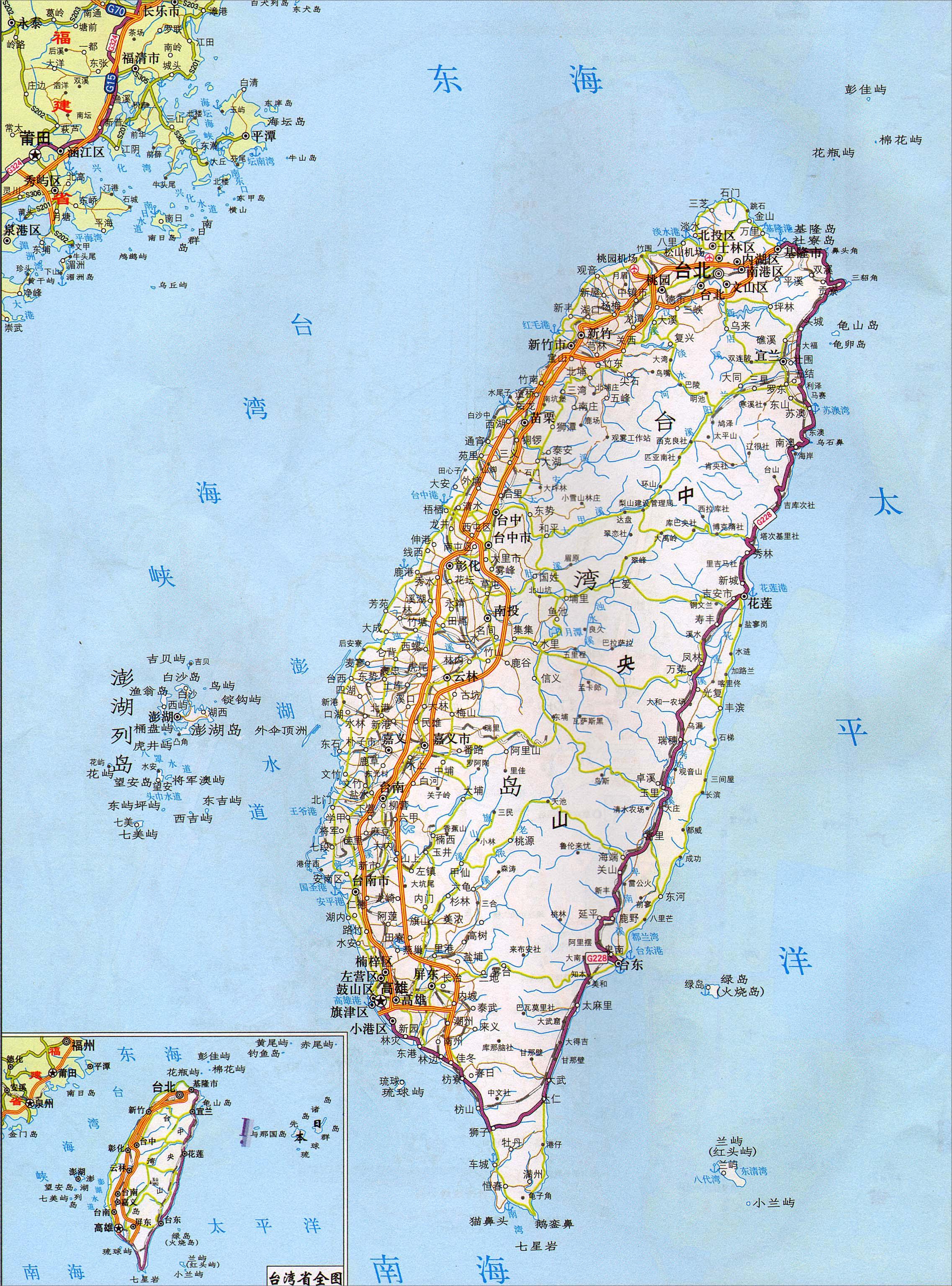 地图库 交通地图 高速公路网 >> 台湾高速公路地图2017版