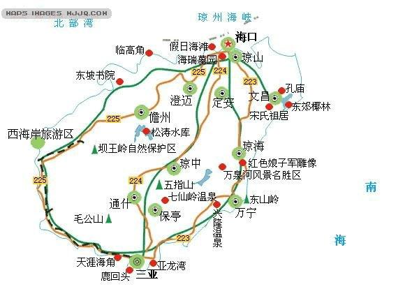 地图库 中国 海南 海南旅游 >> 海南主要景点示意图    世界各国