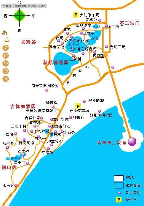 南山文化旅游区导游图_海南旅游地图库_地图窝