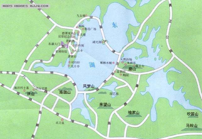 东湖旅游地图_湖北旅游地图库