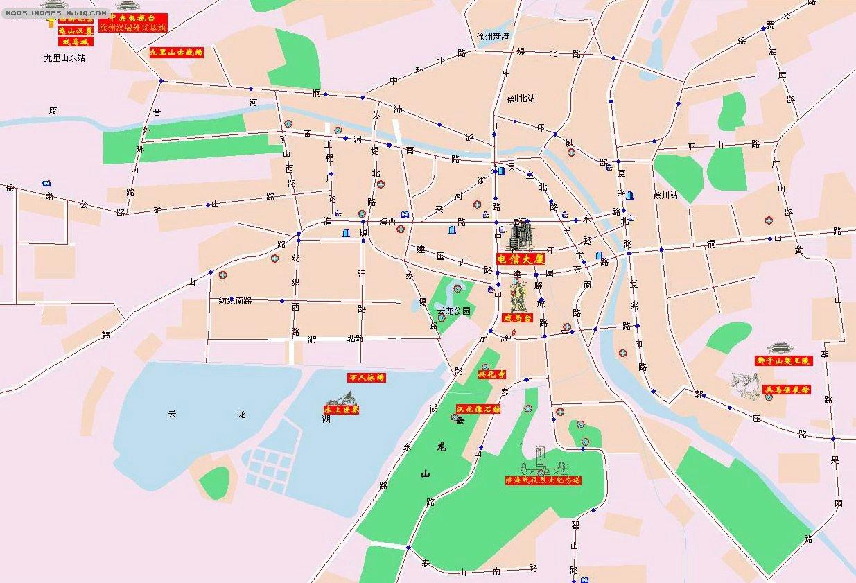 地图库 旅游地图 江苏旅游 >> 徐州市区地图  景点导航:世界旅游