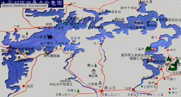 anhui maps   美景旅; 太平湖导游图;; 北邻九华,是九华山进黄山公路