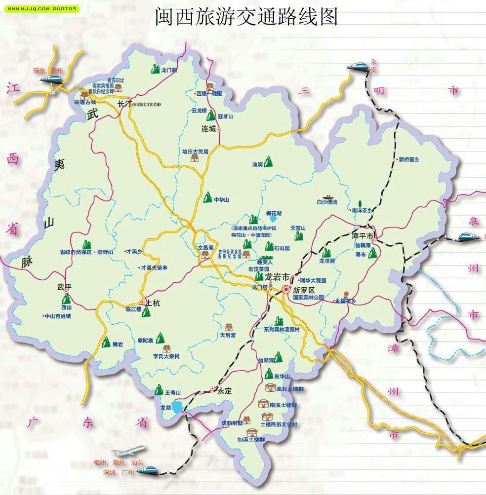 龙岩市地图_龙岩市旅游地图_福建旅游地图库_地图窝