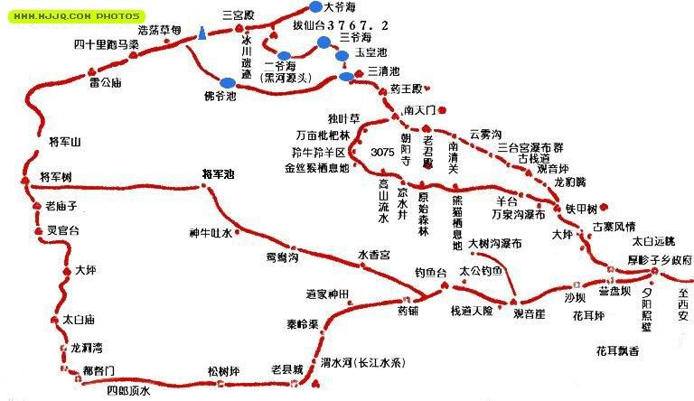 地图库 旅游地图 陕西旅游 >> 太白山南坡示意图  景点导航:世界旅游