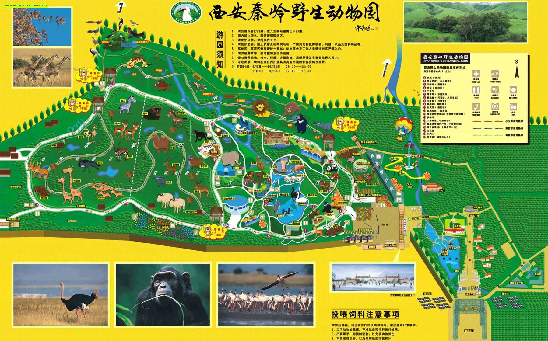 西安秦岭野生动物园导游图