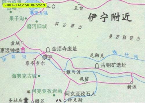伊宁市旅游地图