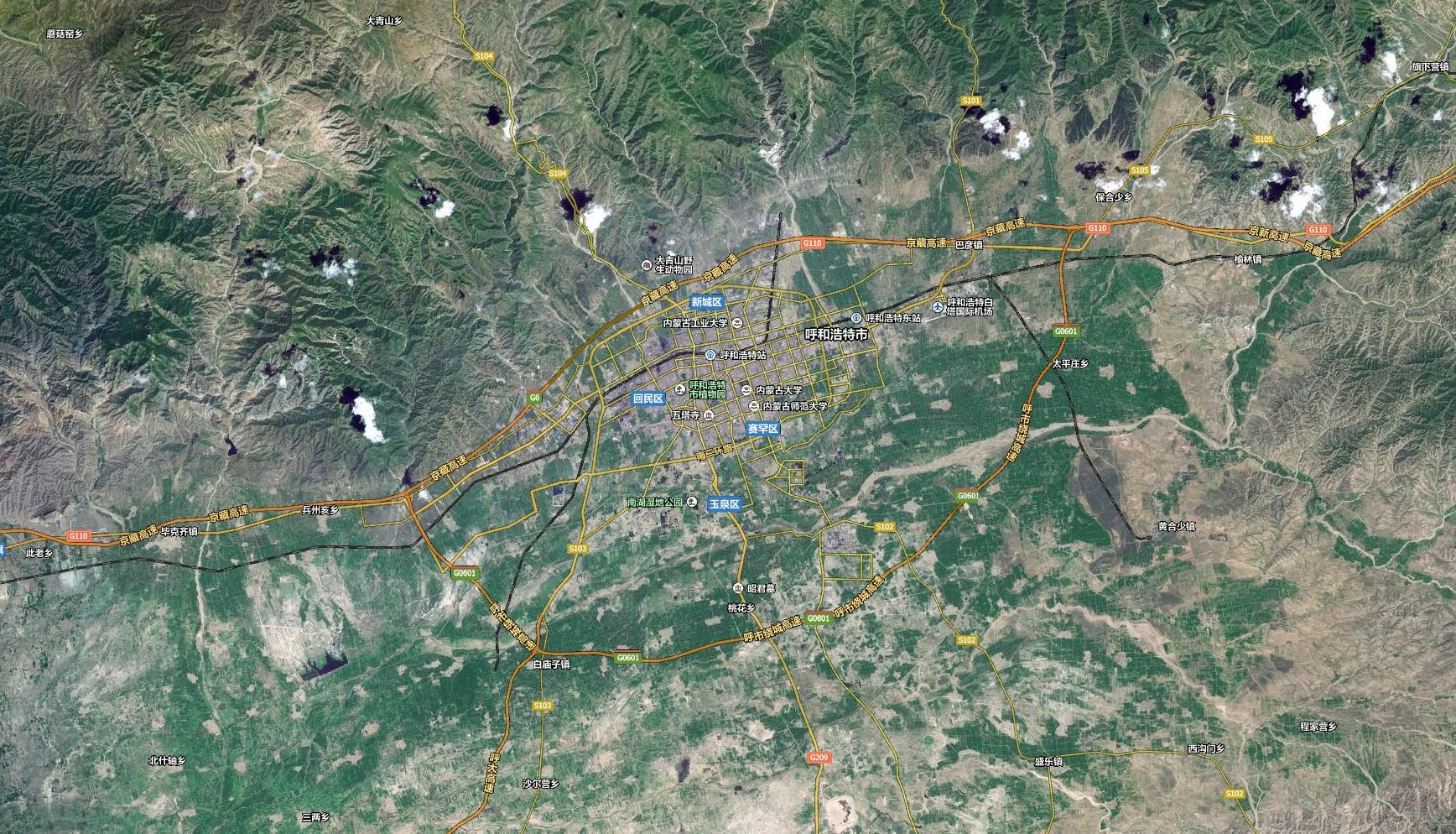 呼和浩特卫星地图