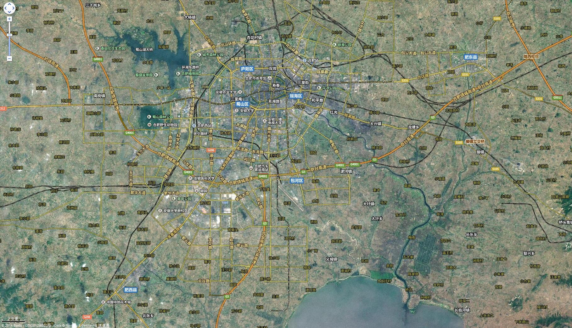 合肥卫星路网地图