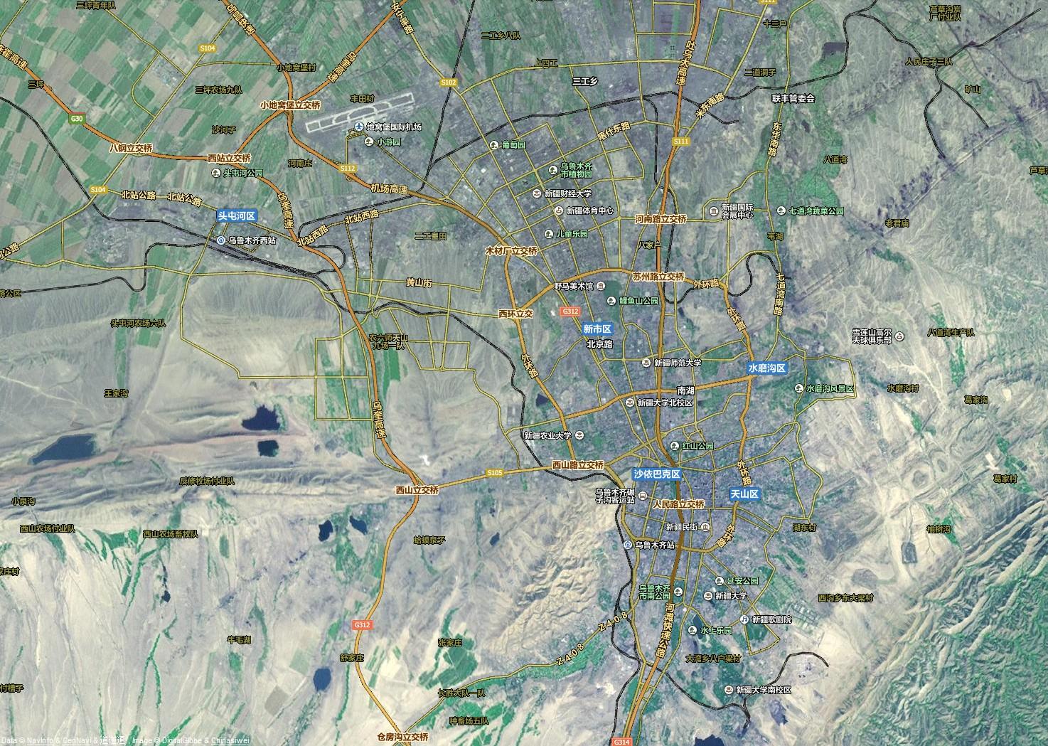 乌鲁木齐卫星路网地图