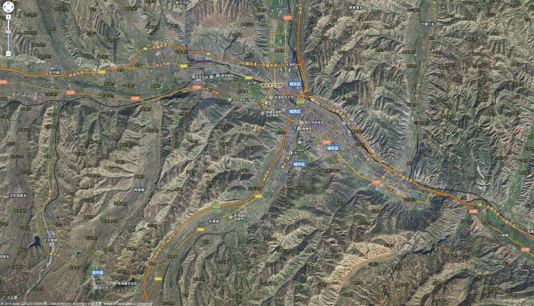 西宁卫星路网地图图片