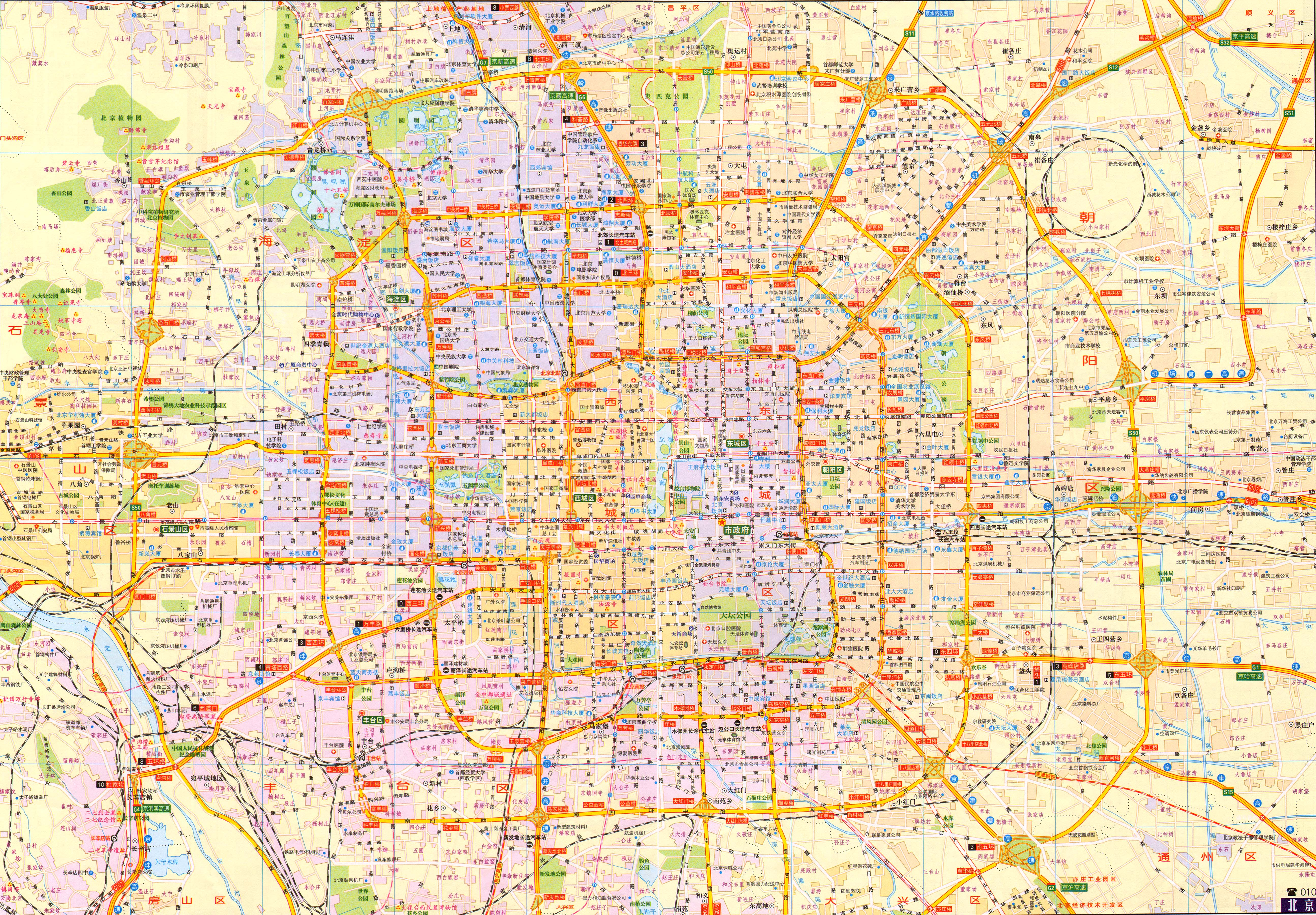 北京城区交通地图2017版  栏目导航:2017年新版  2016年新版  地铁图片