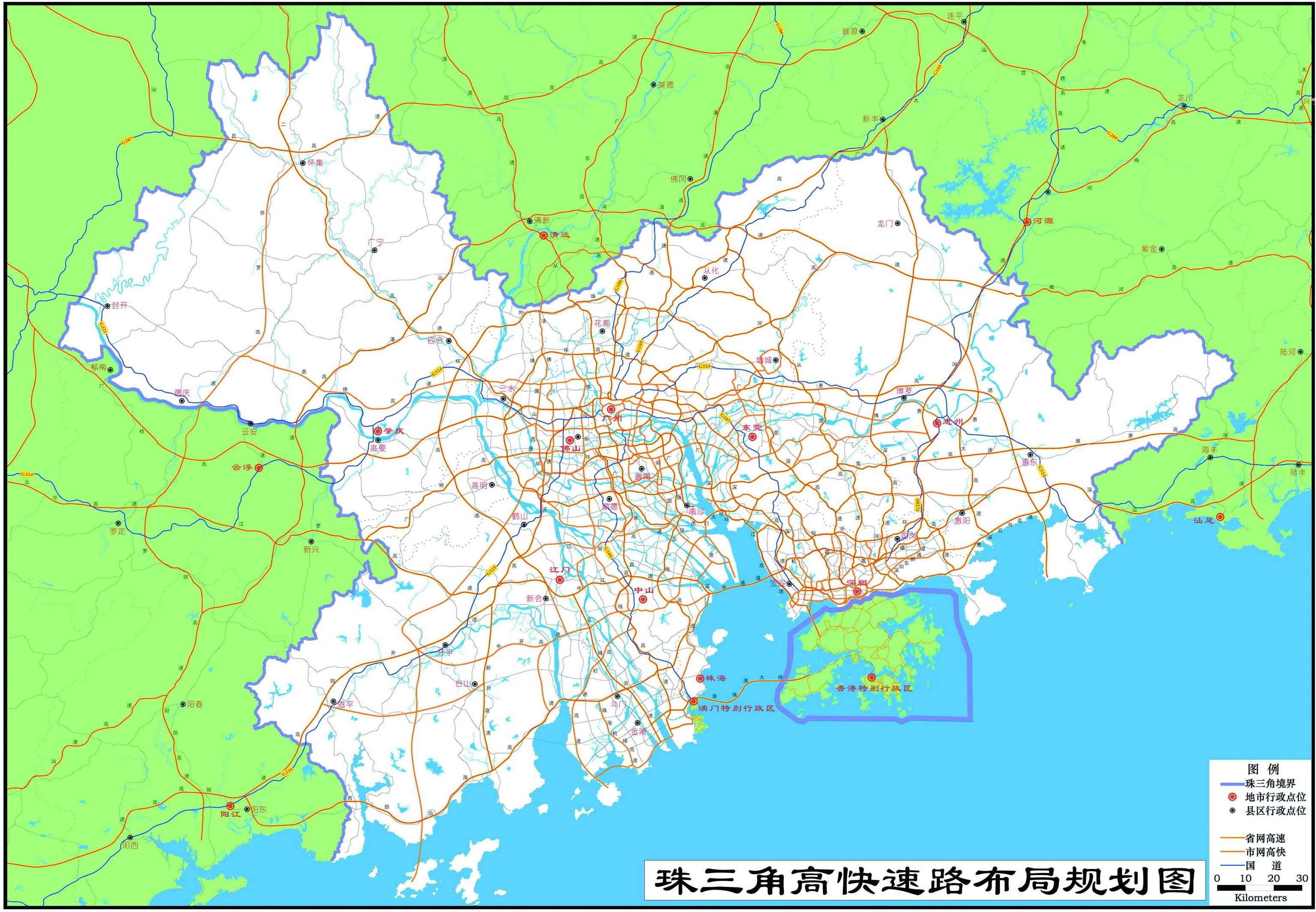 珠江三角洲高快速路布局规划图
