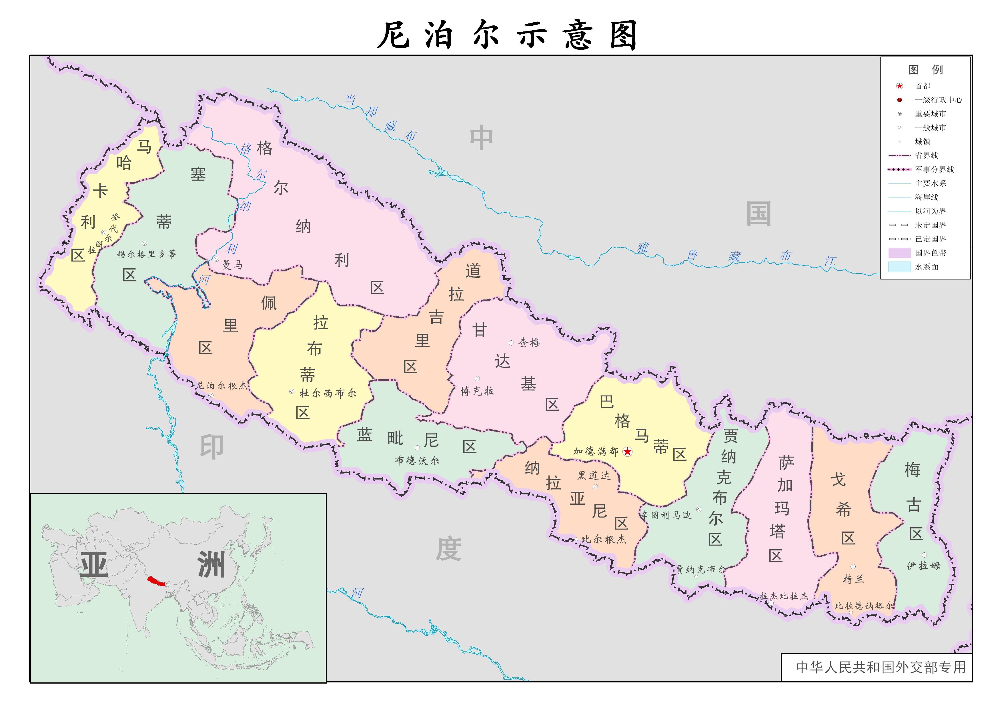 尼泊尔行政示意图