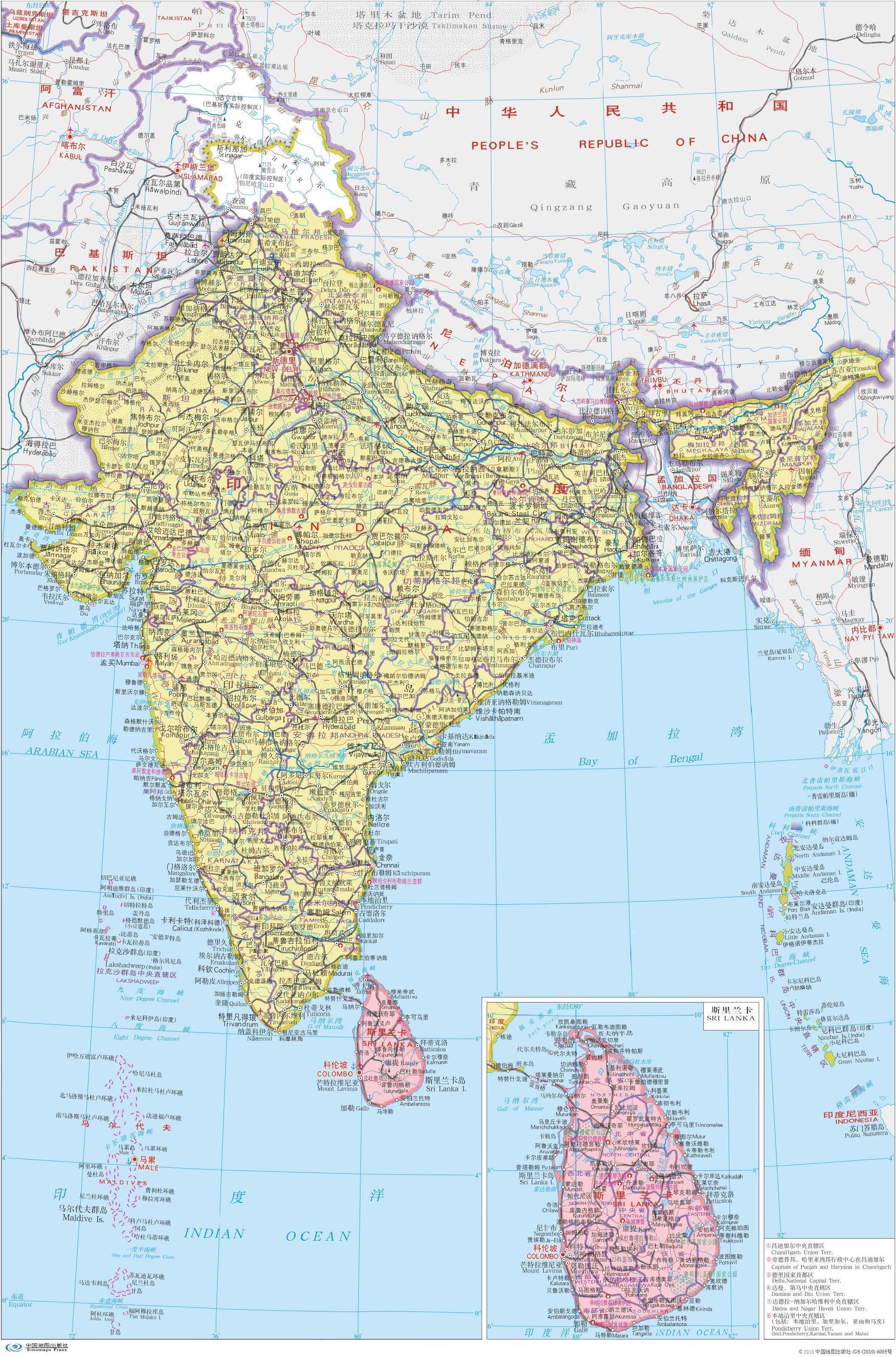 印度行政示意图_国家示意图地图库_地图窝