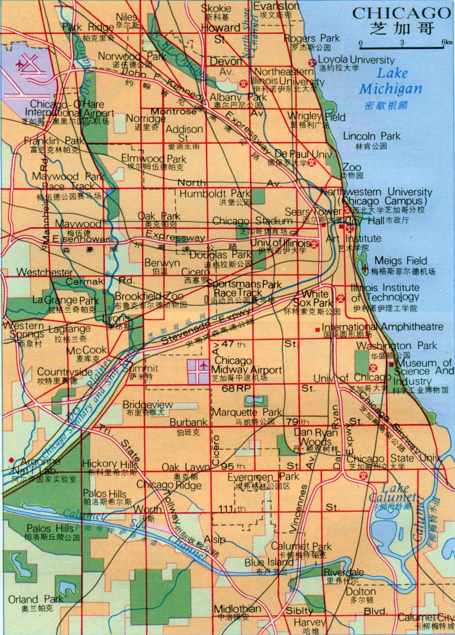 芝加哥地图中文版全图