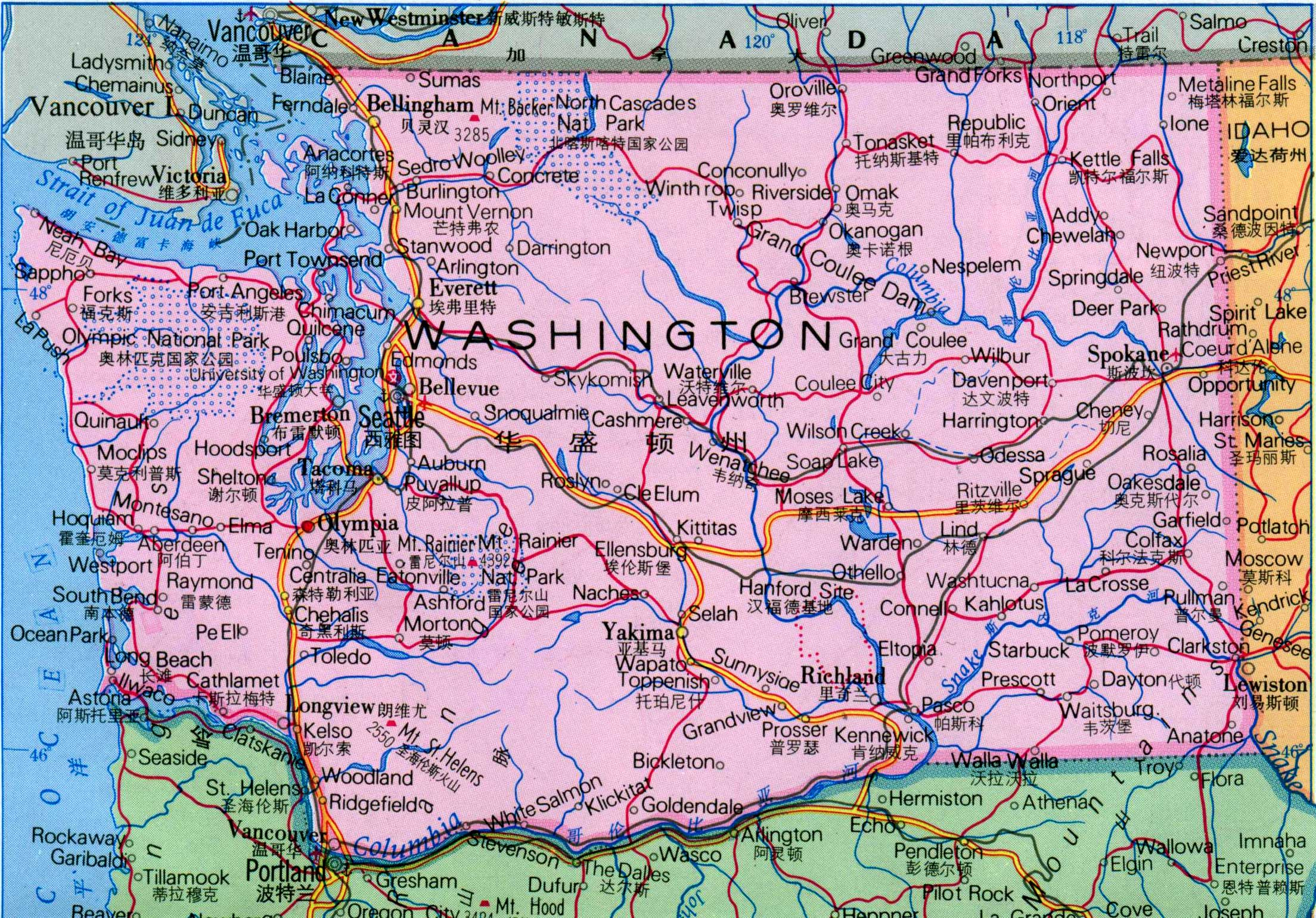 华盛顿州地图中文版_美国地图库