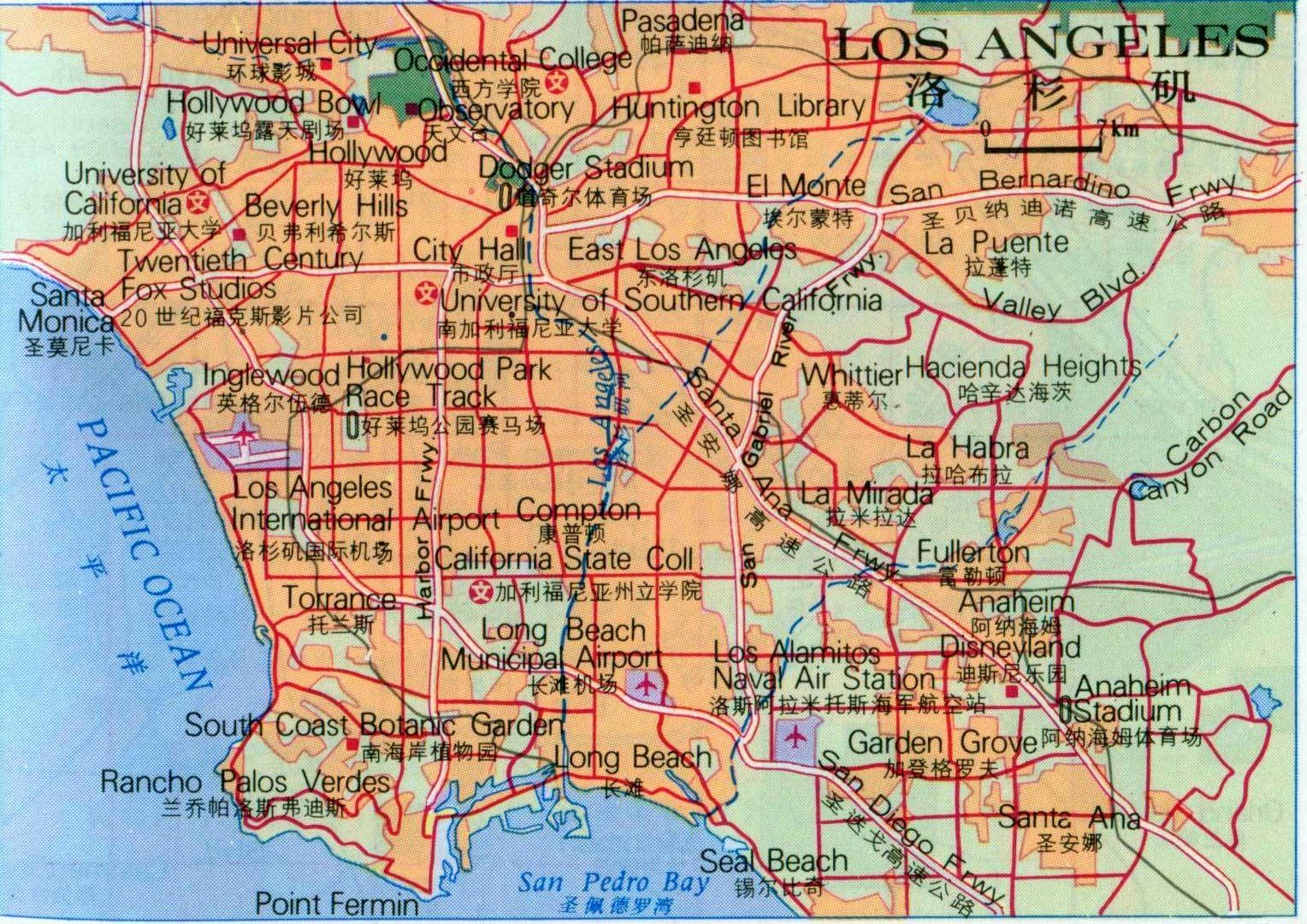 洛杉矶地图中文版全图_美国地图库