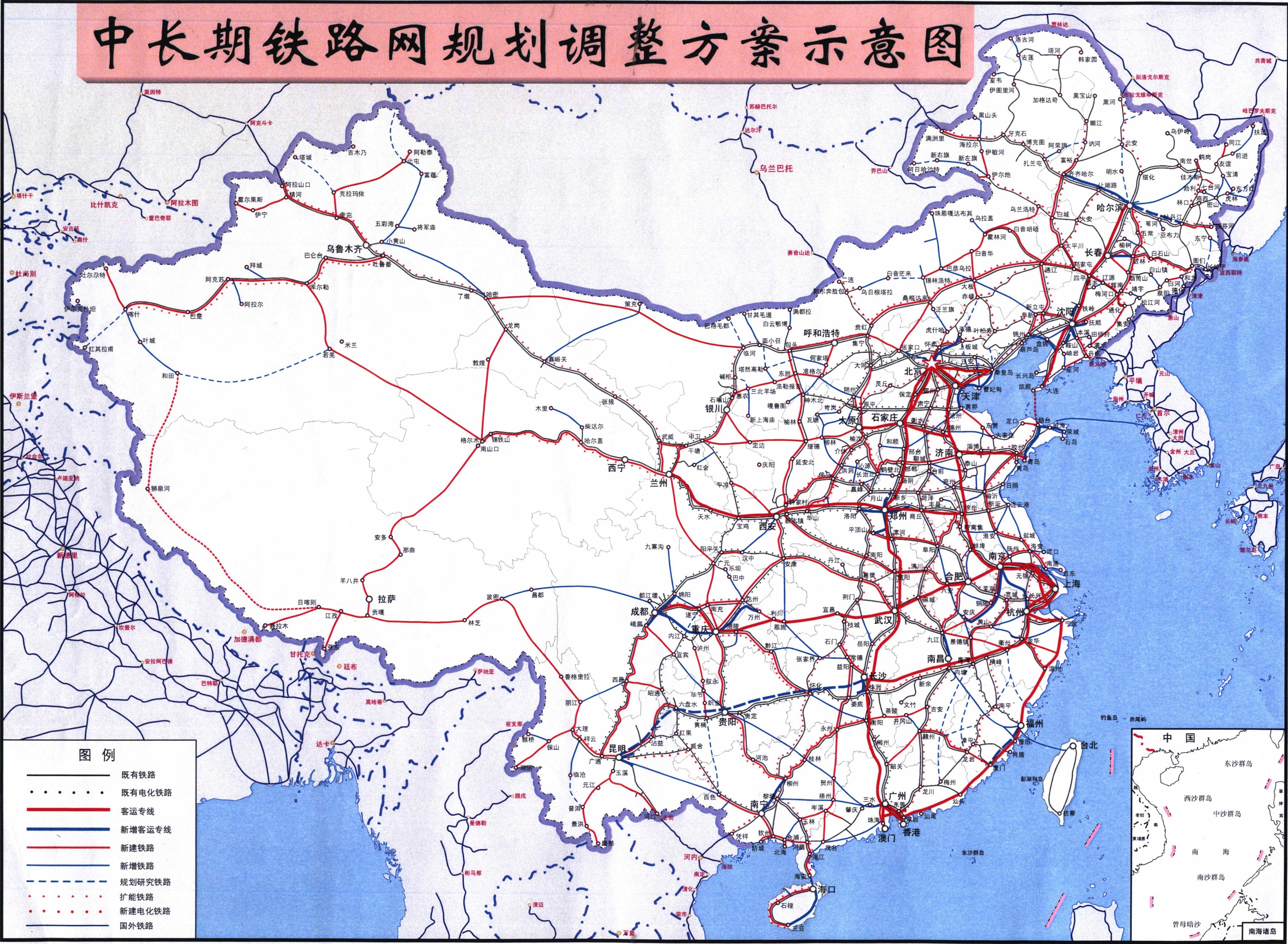 江西省铁路规划调整_中国铁路网中长期规划调整示意图_交通地图库_地图窝