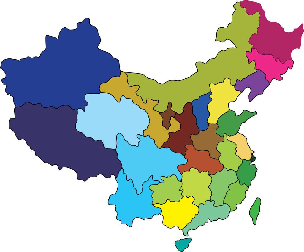 中国地图素材_线描图