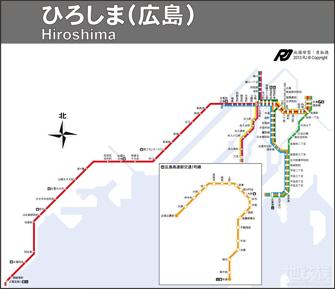 日本广岛地铁线路图_交通地图库