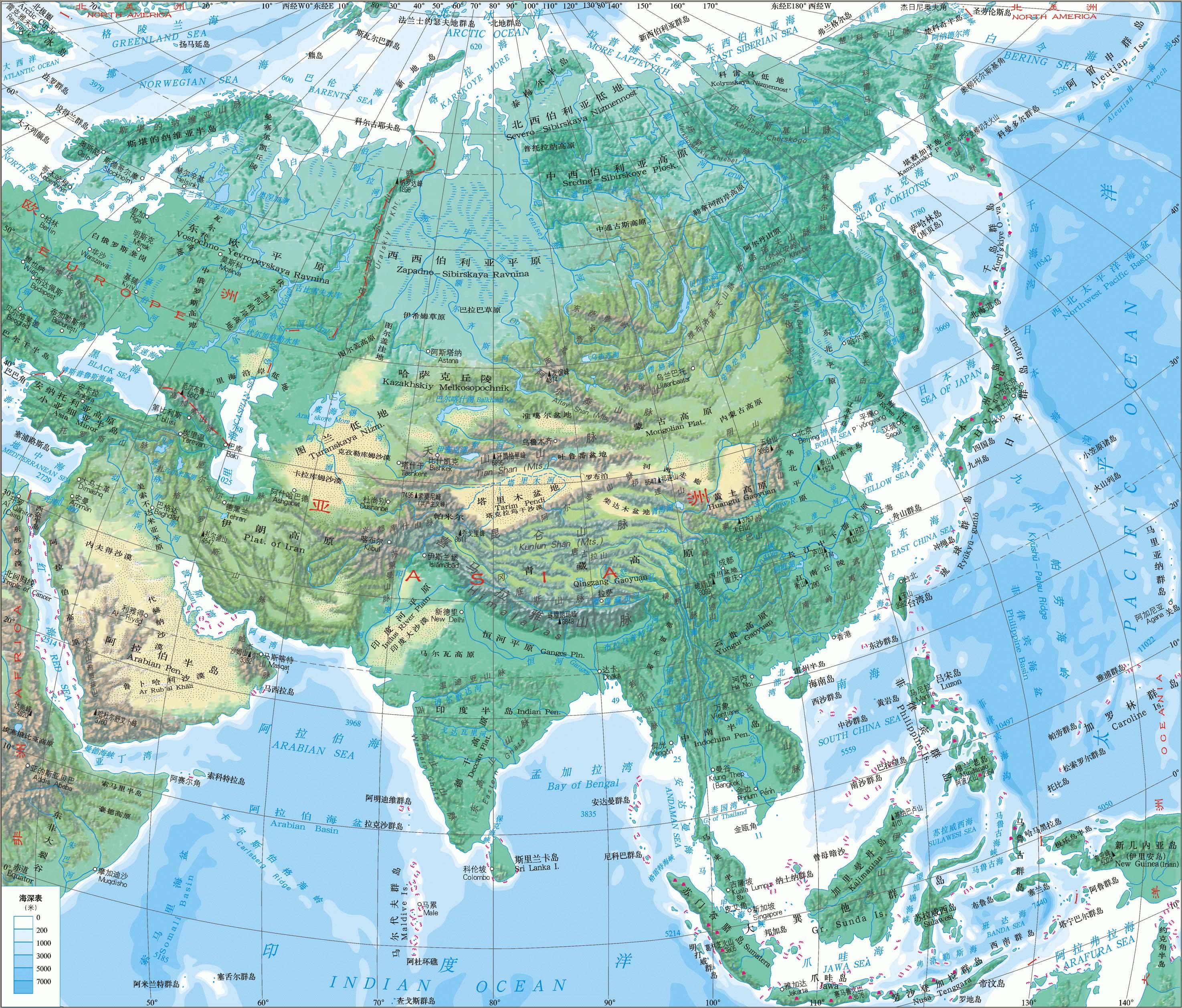 亚洲地形地图_亚洲地形(高清大图)_亚洲地图库_地图窝