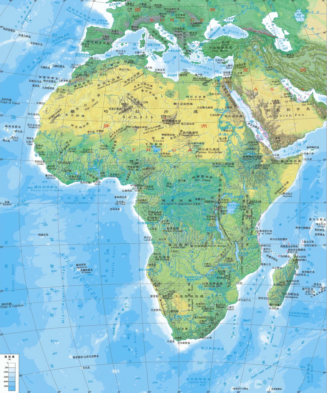 非洲地形图高清版