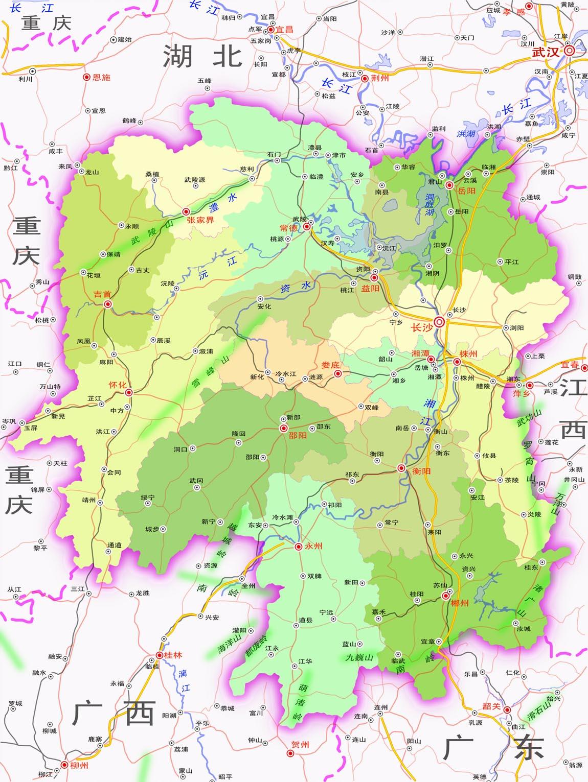 湖南地图(政区图)