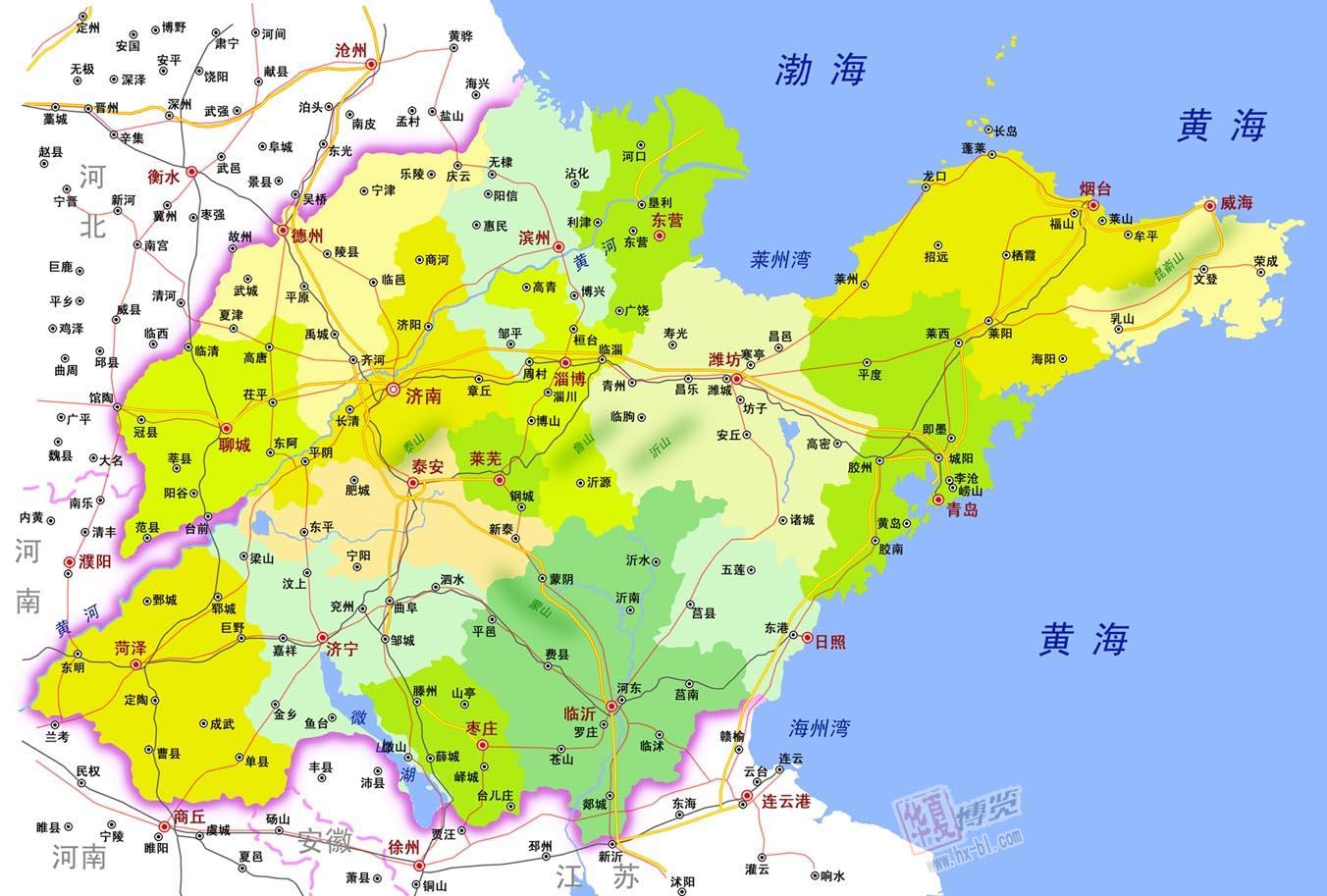 山东行政区划地图