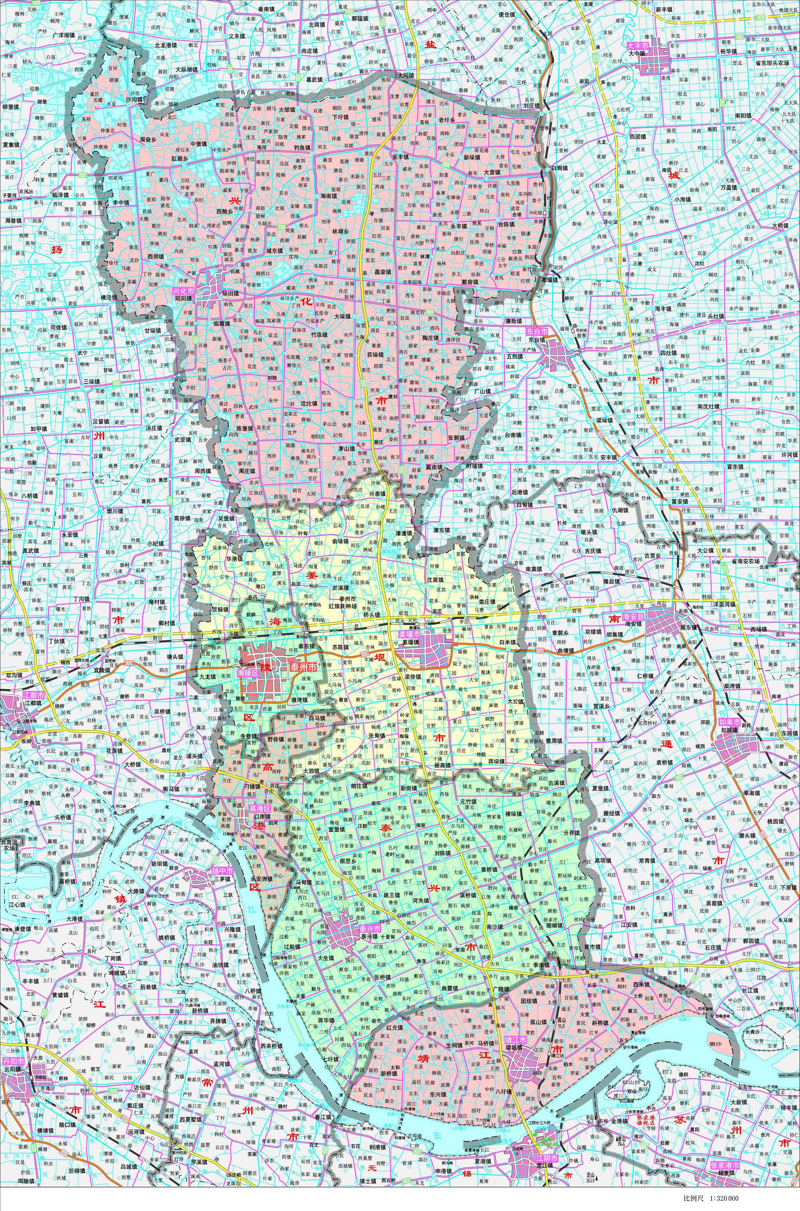 泰州市政区地图