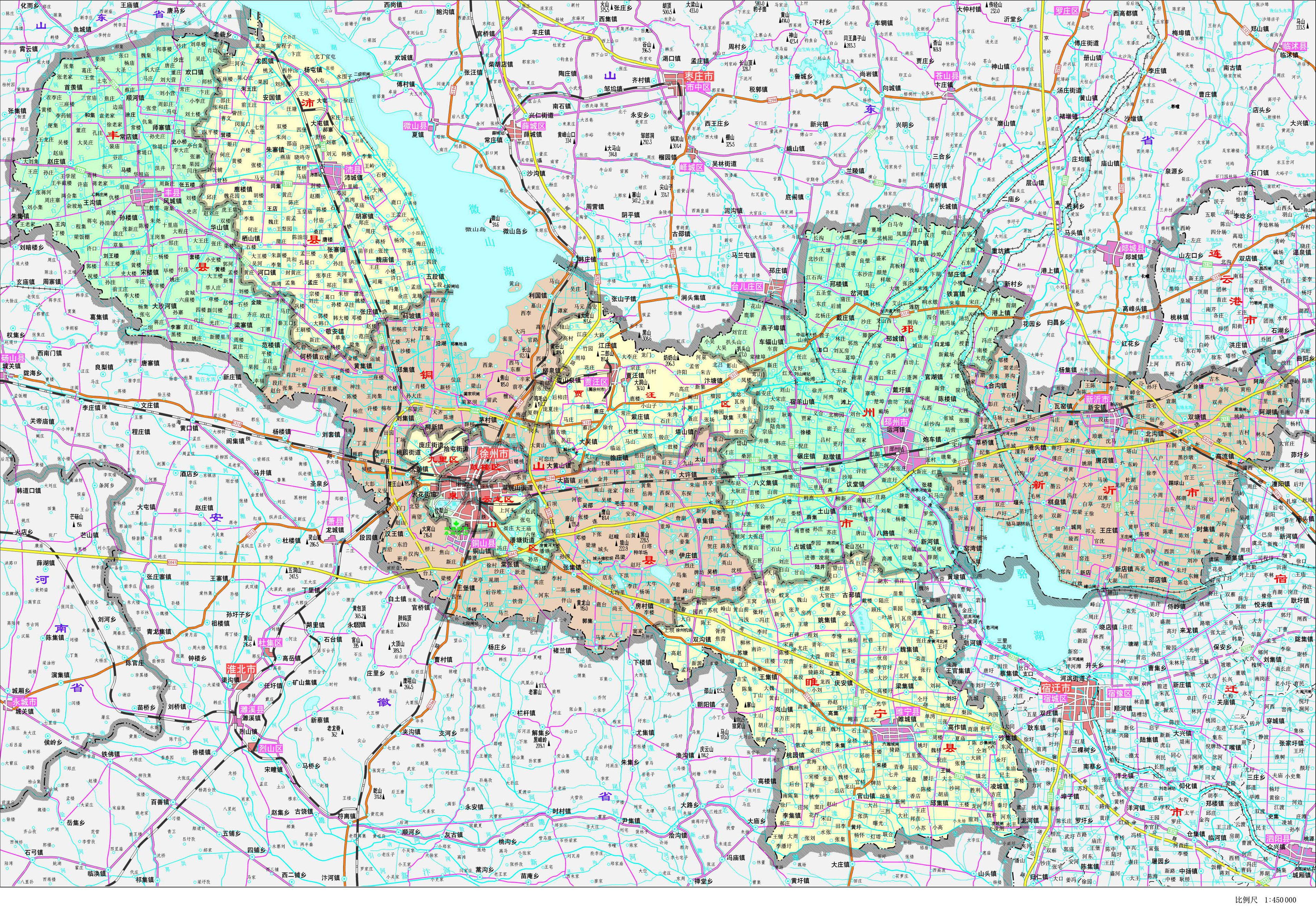 徐州市政区地图
