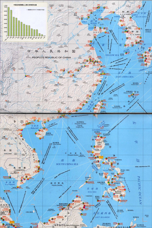 港口分布图 |  下一张地图: 中国沿海地区,朝鲜,韩国_港口分布地图